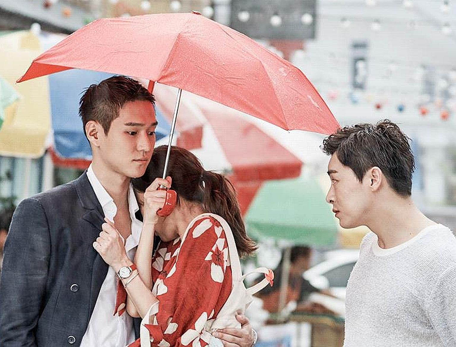 Fashion tycoon Go Jung Won (far left, played by Ko Kyoung Pyo) and his best friend Lee Hwa Shin (right, Cho Jung Seok) are in love with weathergirl Pyo Na Ri (centre, Kong Hyo Jin) in Jealousy Incarnate.