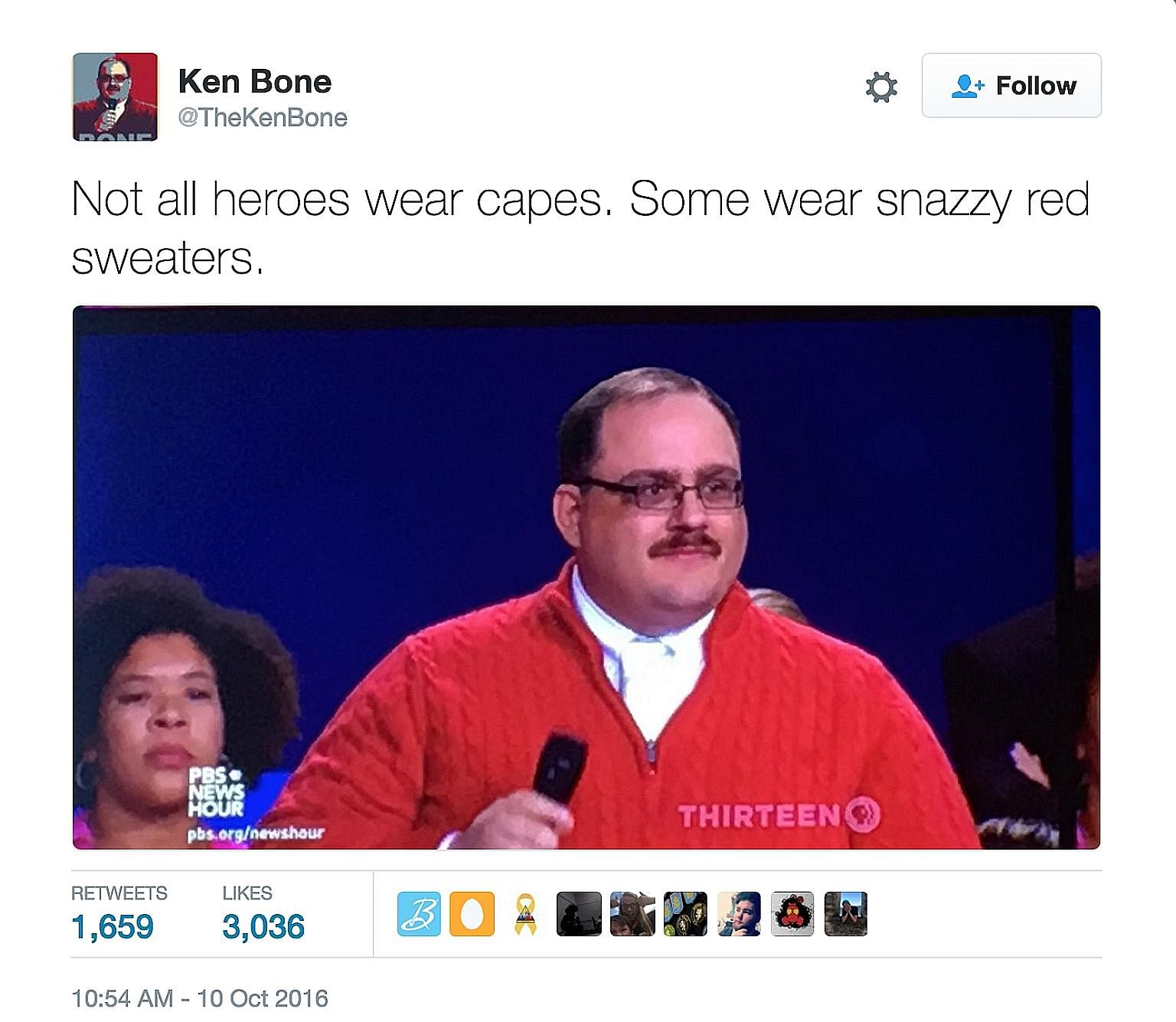Mr Kenneth Bone had initially intended to wear an olive-coloured suit, but donned a red fleece sweater when he split his trousers while getting into his car. His earnest demeanour at a United States presidential debate has made him an Internet hit.