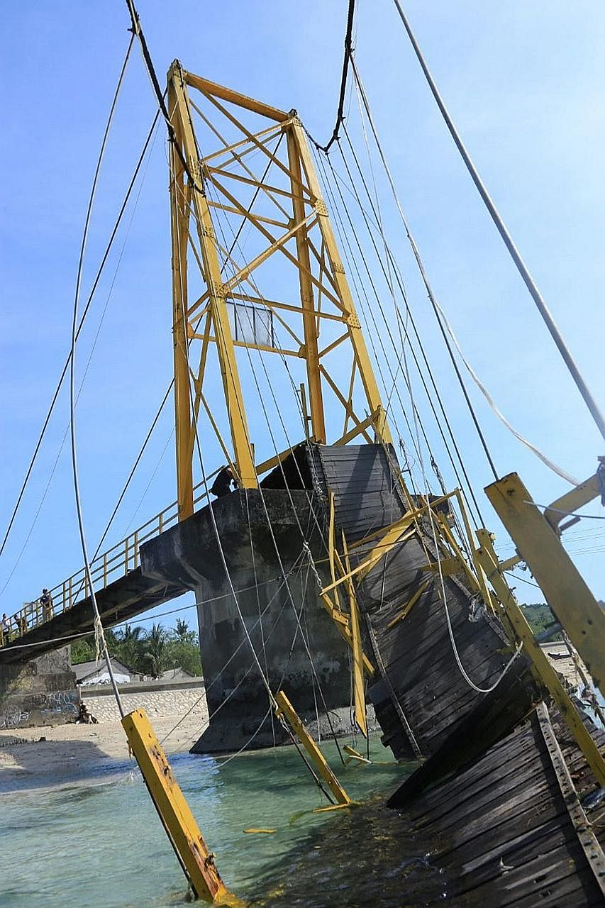 The 21-year-old suspension bridge connecting two small islands - Nusa Lembongan and Nusa Ceningan - near Bali that collapsed on Sunday evening, killing eight people and injuring 34 others.