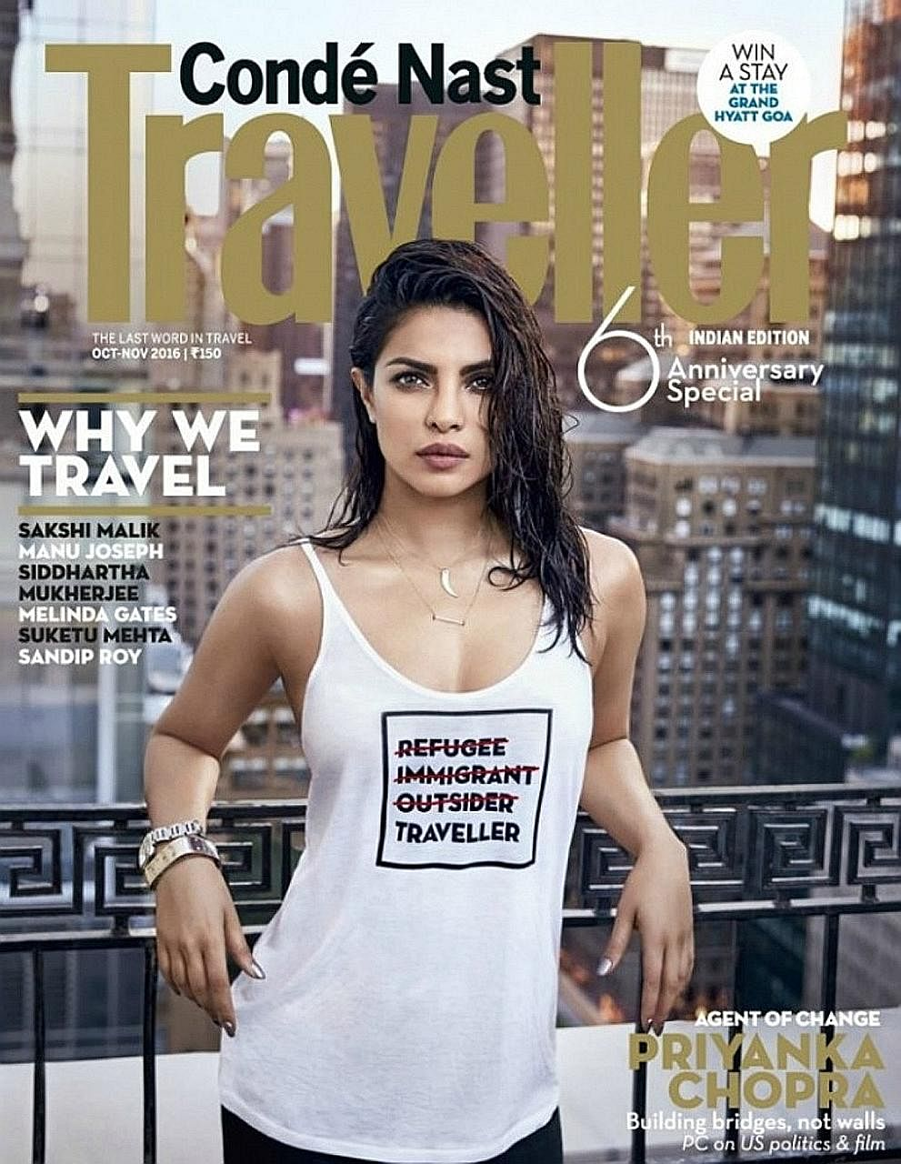 The magazine cover of Bollywood actress Priyanka Chopra prompted a flurry of criticism on social media.