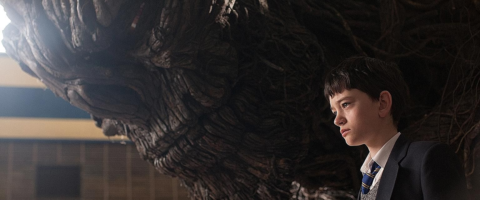 In A Monster Calls, the giant (voiced by Liam Neeson) is not the father figure Conor (Lewis MacDougall) needs.