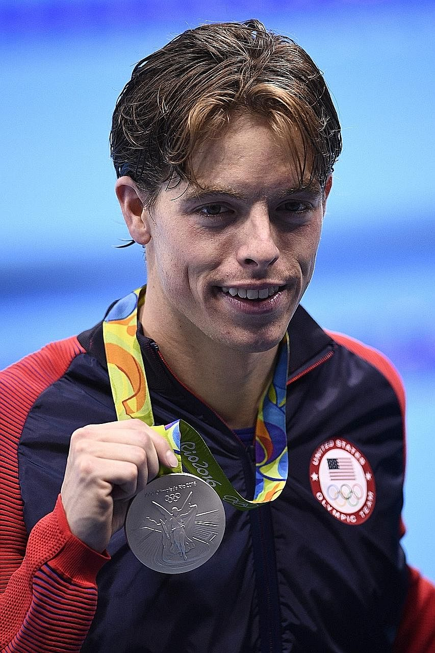 American Connor Jaeger on the podium after finishing second in the 1,500m freestyle final at the Rio Olympics in August.