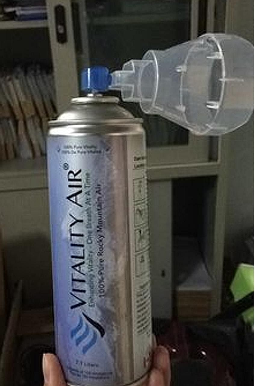 A bottled-air product on online marketplace Taobao. Thick smog has returned to Beijing and other parts of northern China.