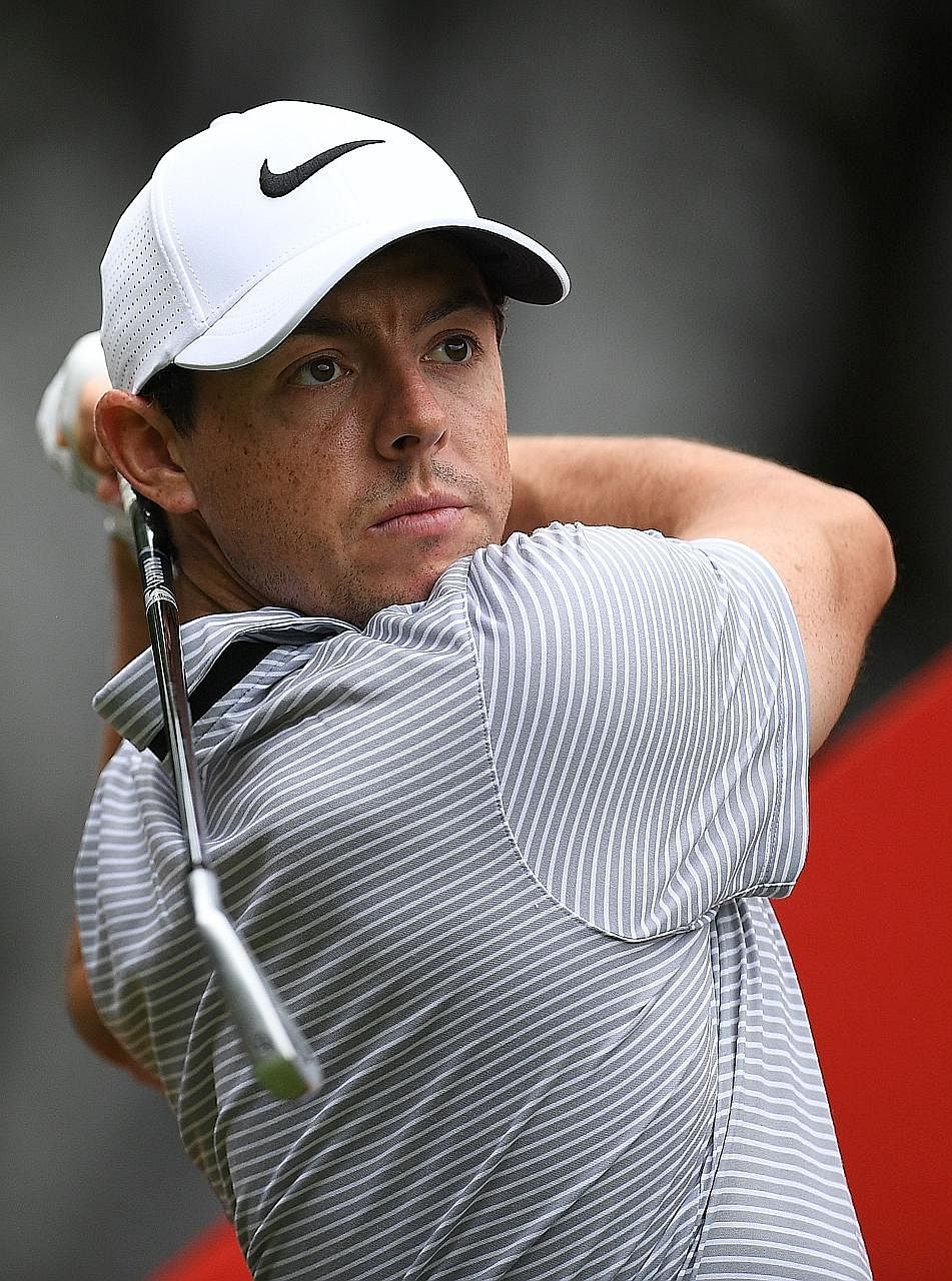 Rory McIlroy of Northern Ireland teeing off during the pro-am event for the World Golf Championships-HSBC Champions tournament in Shanghai yesterday.