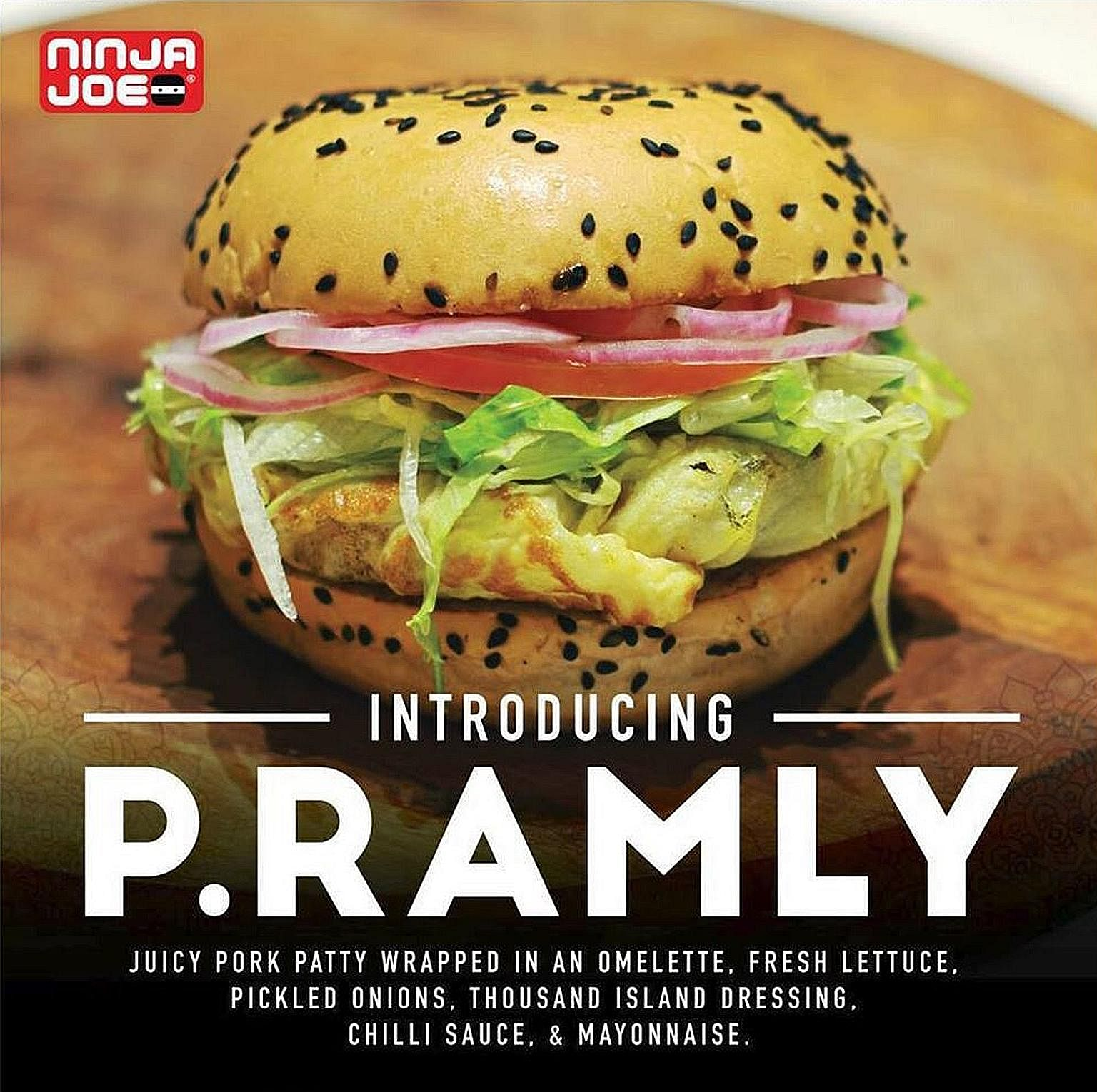 Ninja Joe said on its Facebook page that it has removed posters of the burger from its outlets and has ceased the use of the P. Ramly name with immediate effect.