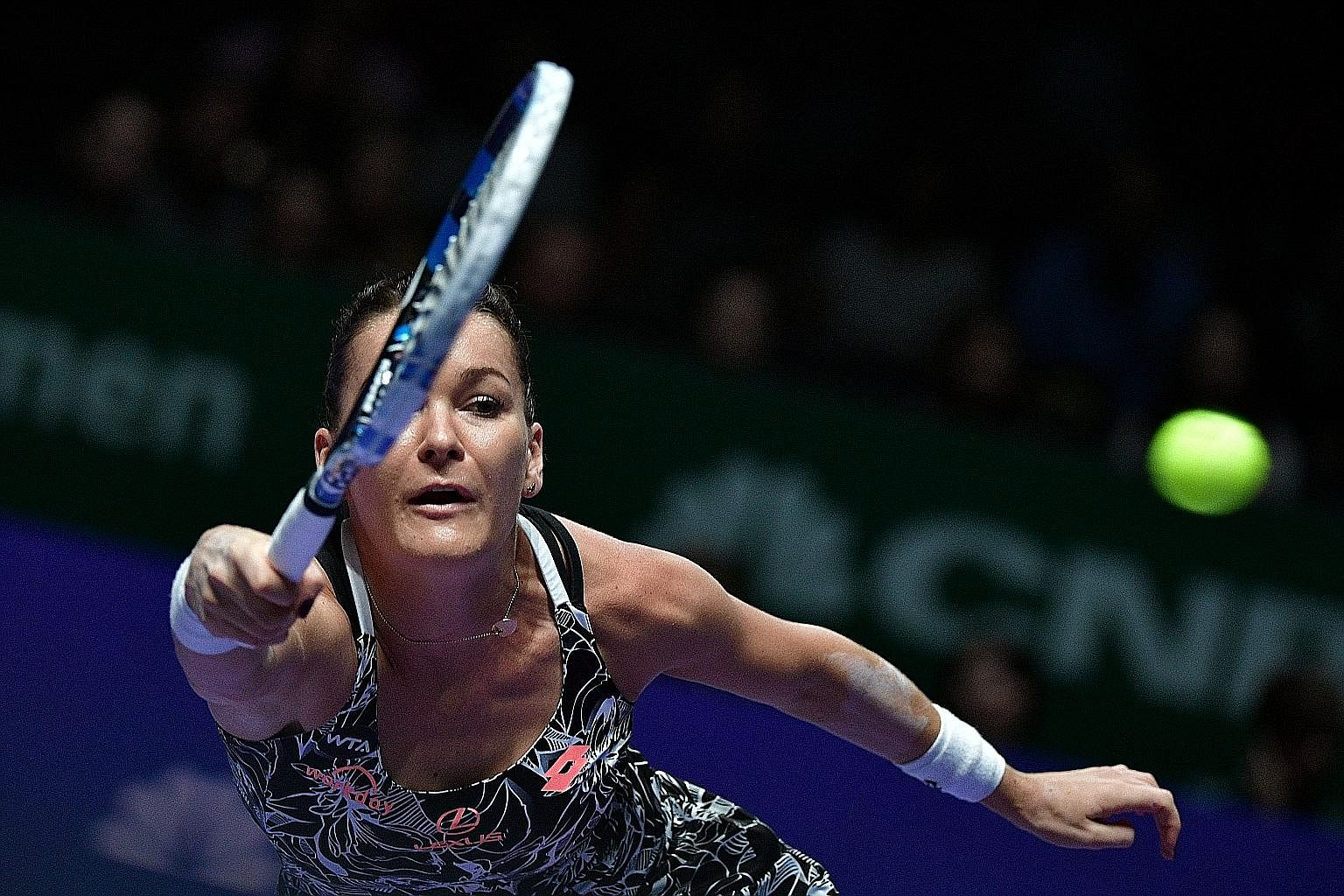Agnieszka Radwanska of Poland in action against Karolina Pliskova of the Czech Republic yesterday. Radwanska won 7-5, 6-3 to advance to the quarter-finals, where she will meet world No. 1 Angelique Kerber of Germany.