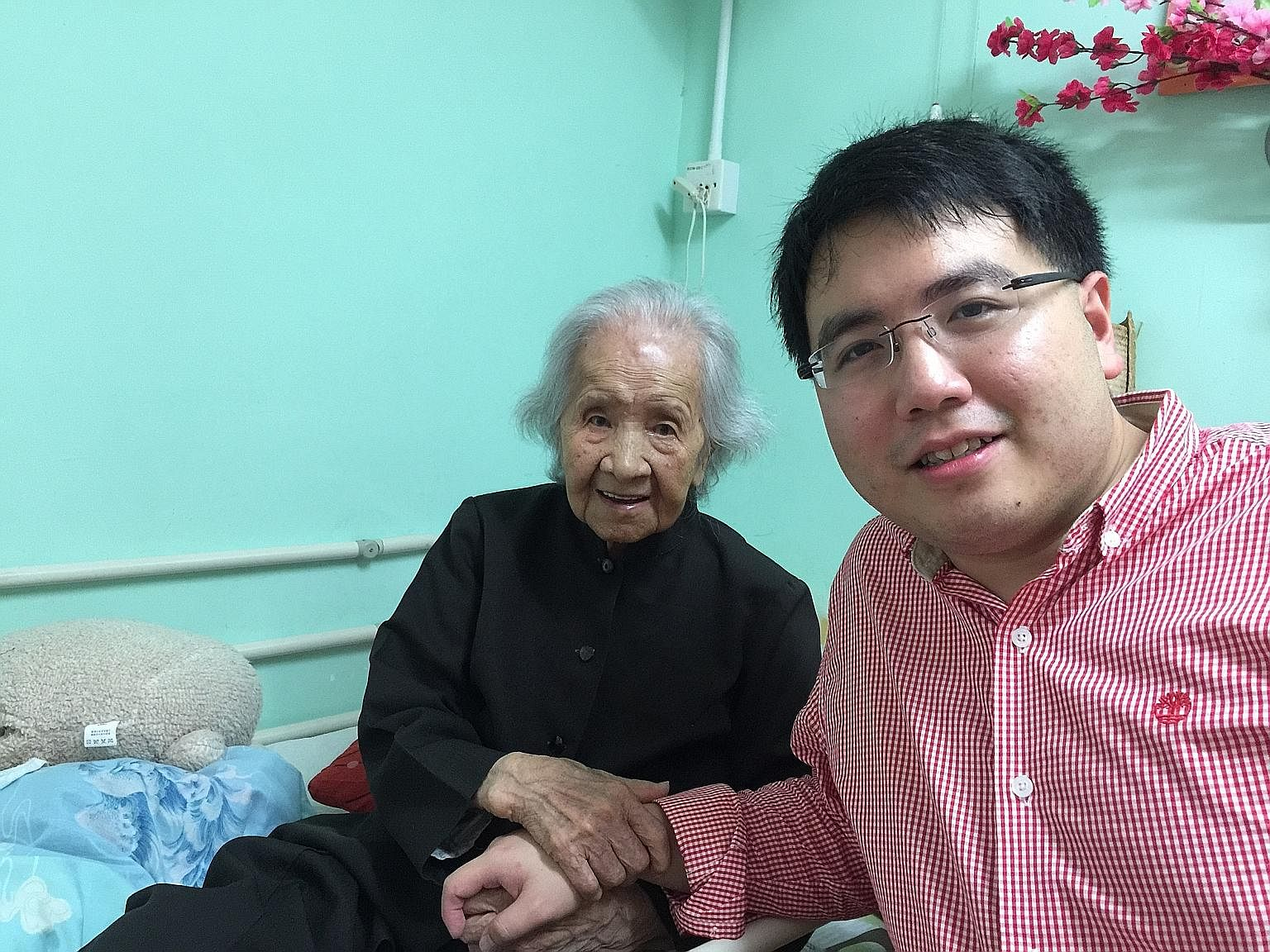 The writer's nephew, Yi Da, with his 107-year-old great aunt, Madam Goh Seok Lian. Despite being only 27 years old, he has already established and used a CPF Investment Scheme account. As our lifespans get longer, we will have to save much earlier in