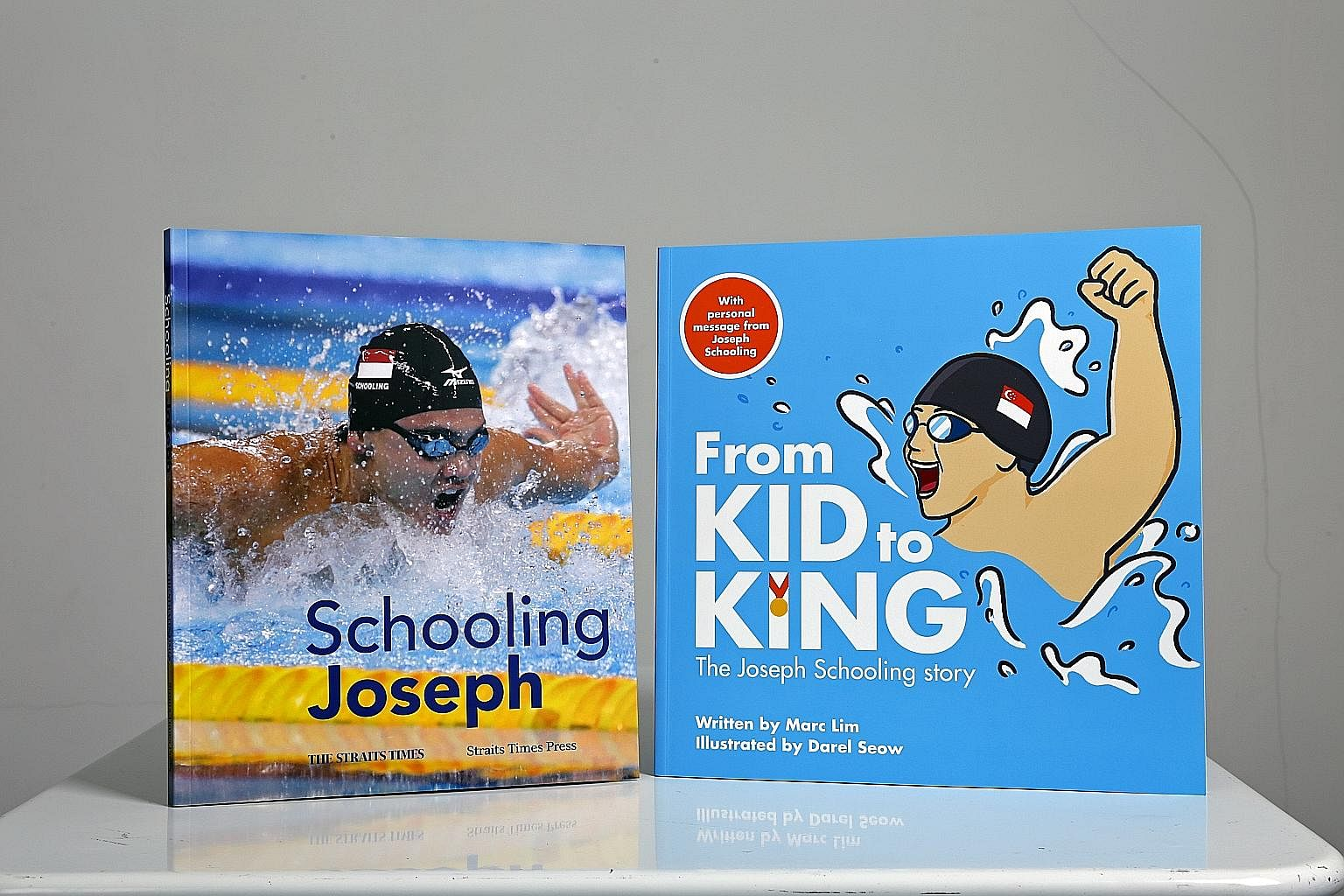 "The ""Hello, My Name is Joseph Schooling"" concept train will run on the Circle Line till Dec 8. It has images of the swimmer's journey and pledges encouraging people to chase their dreams. Right: Schooling Joseph is written for adult fans, whil"