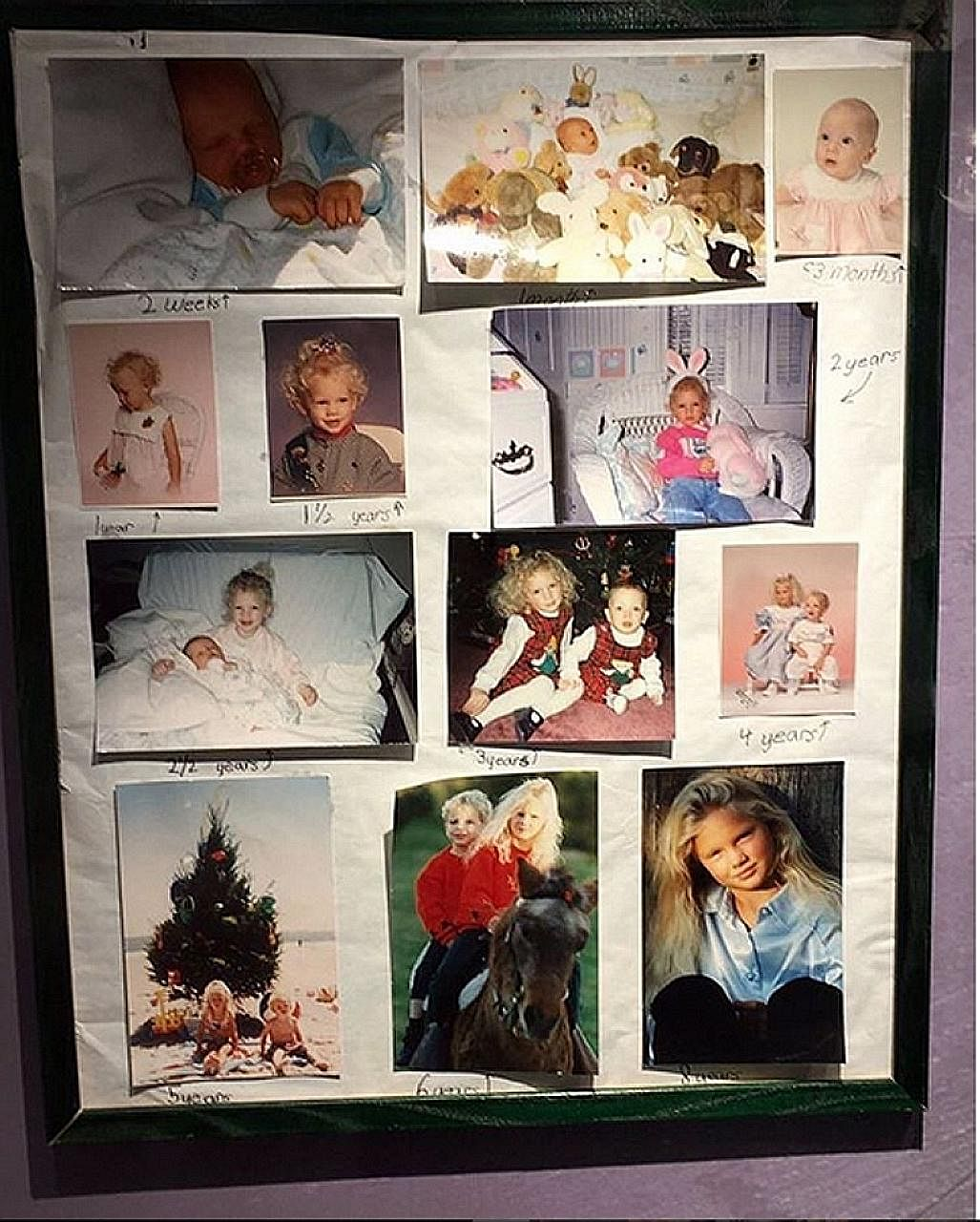 Photos of singer Taylor Swift from ages one to eight are included in the exhibition.