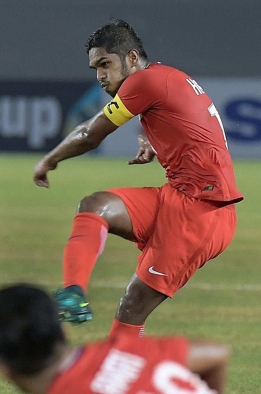 Hariss Harun shooting against the Philippines last Saturday. He stresses the need for an early goal against Indonesia.