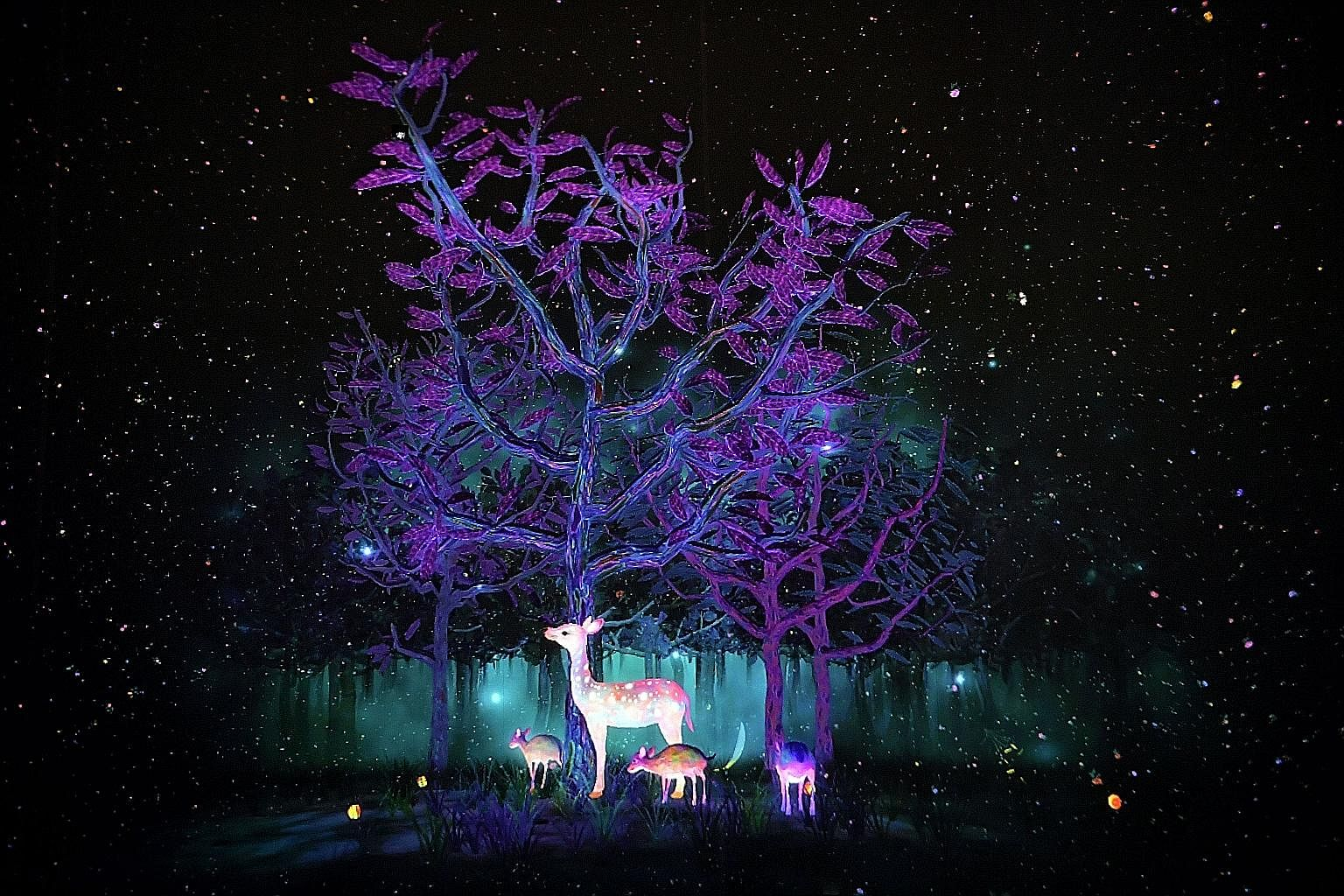 A tapir and a deer are among the inhabitants in interactive installation Story Of The Forest (above), which brings to life works from the National Museum's William Farquhar Collection of Natural History Drawings.