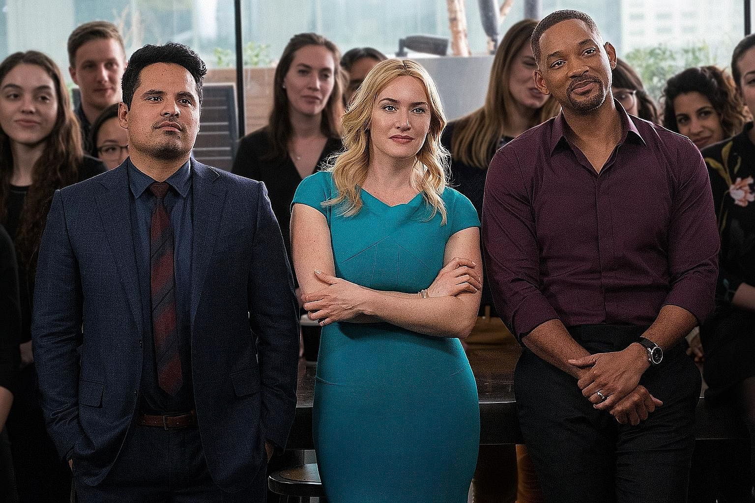 Gong Yoo in Age Of Shadows; Marion Cotillard and Brad Pitt in Allied; and Michael Pena, Kate Winslet and Will Smith in Collateral Beauty (above).