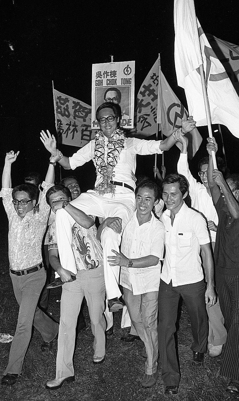 Mr Goh celebrating his victory in Marine Parade in the 1976 General Election. ESM Goh chatting last year with Temasek Polytechnic students (from left) Zolyn Phua, Sudiardi Sudyono, Nur Natasha Roslan and Vinesa Jayaselan, who worked on a short film f
