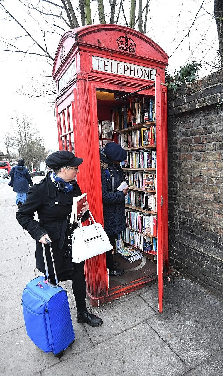 This decommissioned red telephone box has been turned into London's smallest library. The K2 model phone box was bought for just £1 (S$1.77) from British Telecommunications by Mr Sebastian Handley, on behalf of the community-run Brockley Society. Th