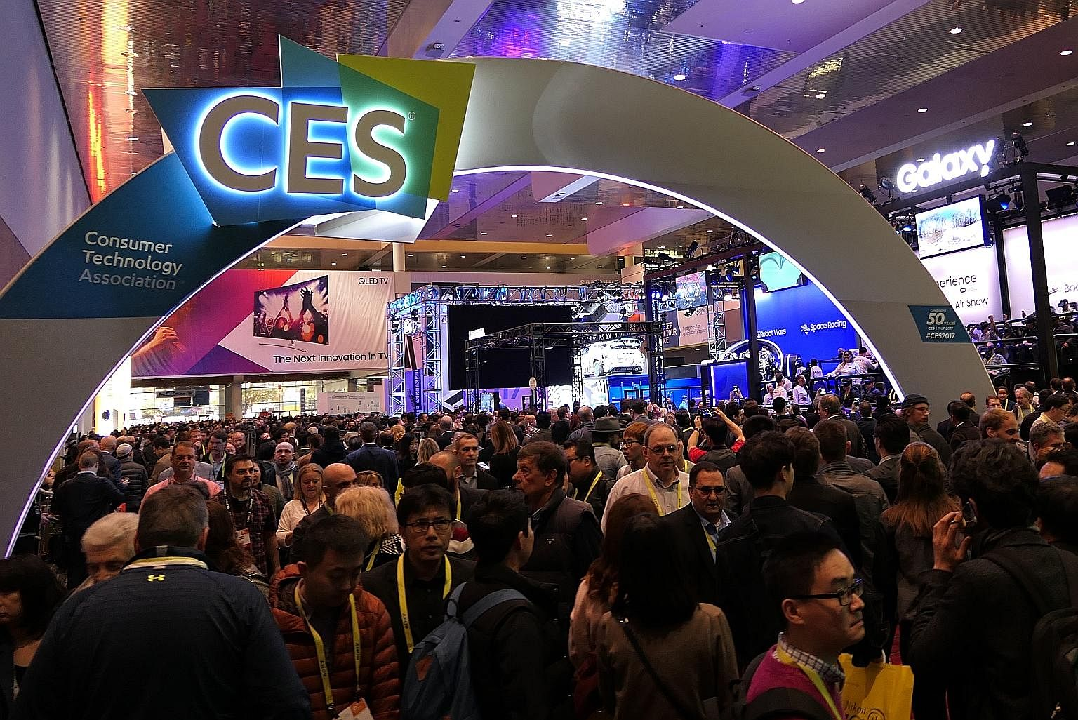 A sea of attendees thronging the exhibition halls of the CES 2017 consumer electronics trade show in Las Vegas last week.