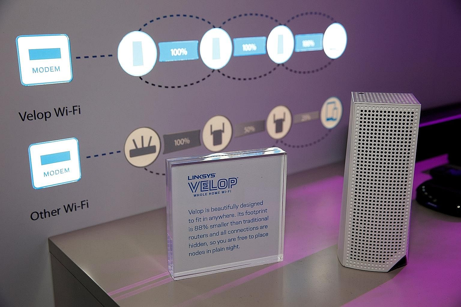 A Velop modular Wi-Fi node displayed in the Linksys booth at CES 2017.