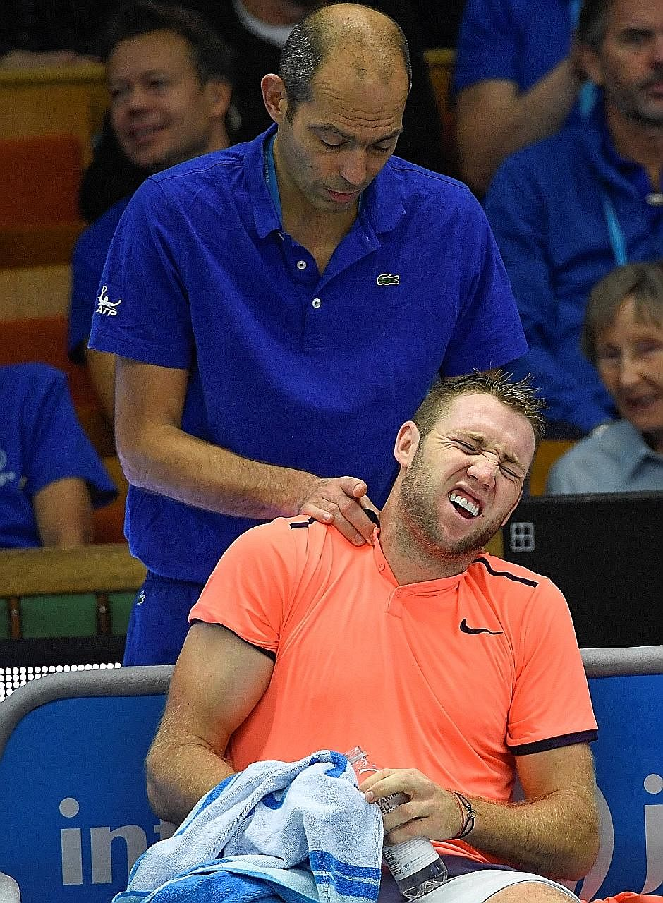 American tennis player Jack Sock getting a massage during a break in a match recently. Athletes massage their muscles not just to recover from exhaustion, but also to increase their flexibility.