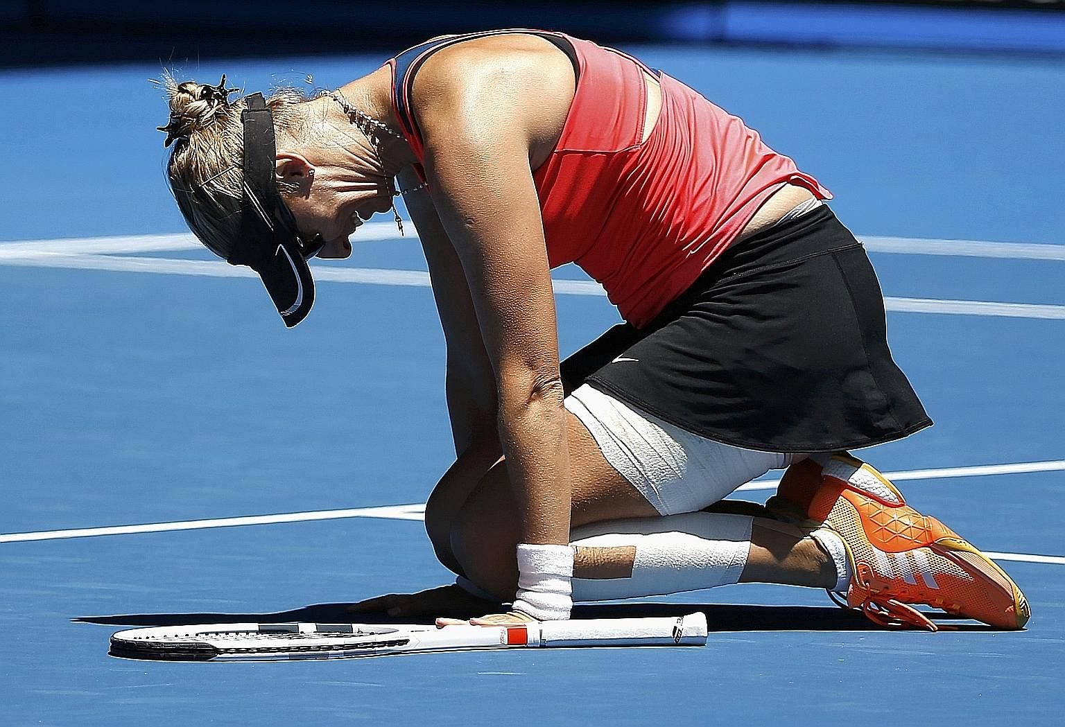 Mirjana Lucic-Baroni, the world No. 79, is overcome by emotion after her 6-4, 3-6, 6-4 Australian Open victory against Karolina Pliskova in the quarter-finals yesterday.