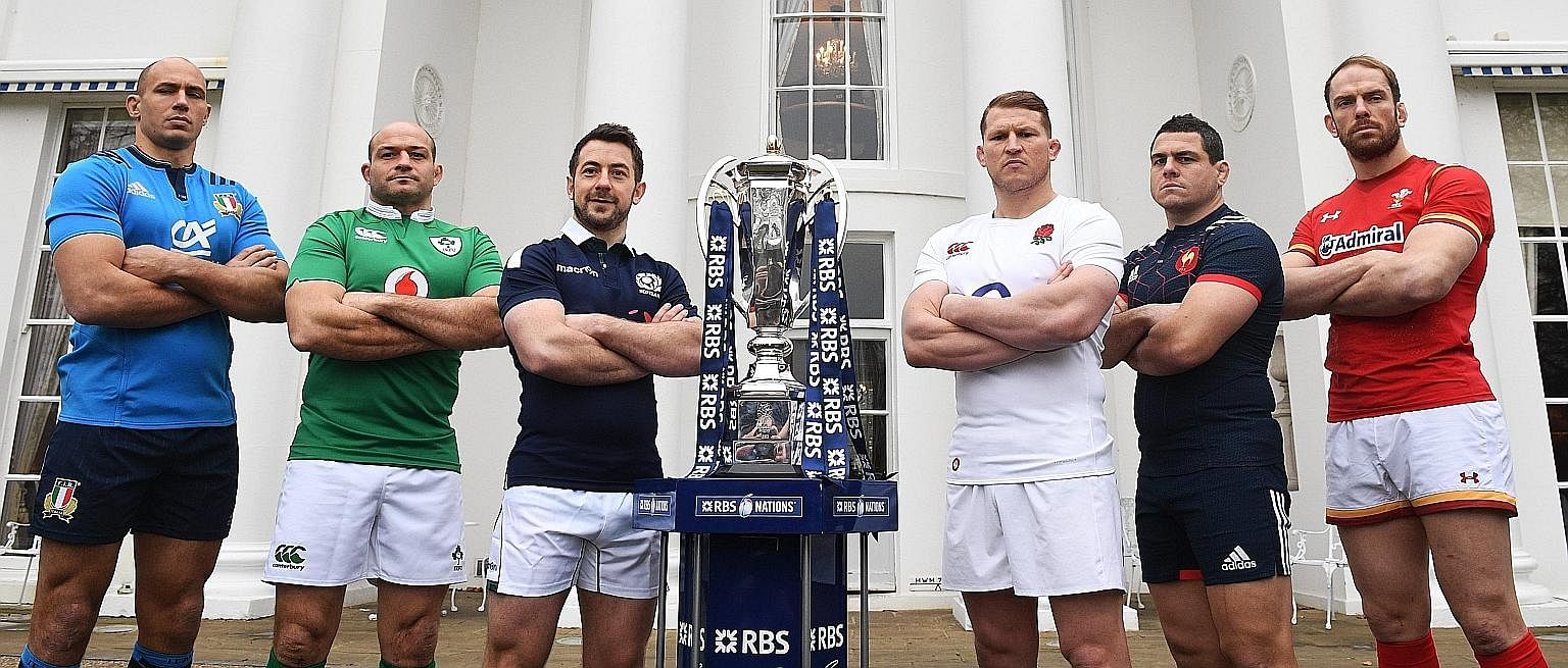 Captains Sergio Parisse of Italy; Rory Best of Ireland; Greig Laidlaw of Scotland; Dylan Hartley of England; Guilhem Guirado of France; and Alun Wyn Jones of Wales with the Six Nations Trophy during the launch of the 2017 tournament at The