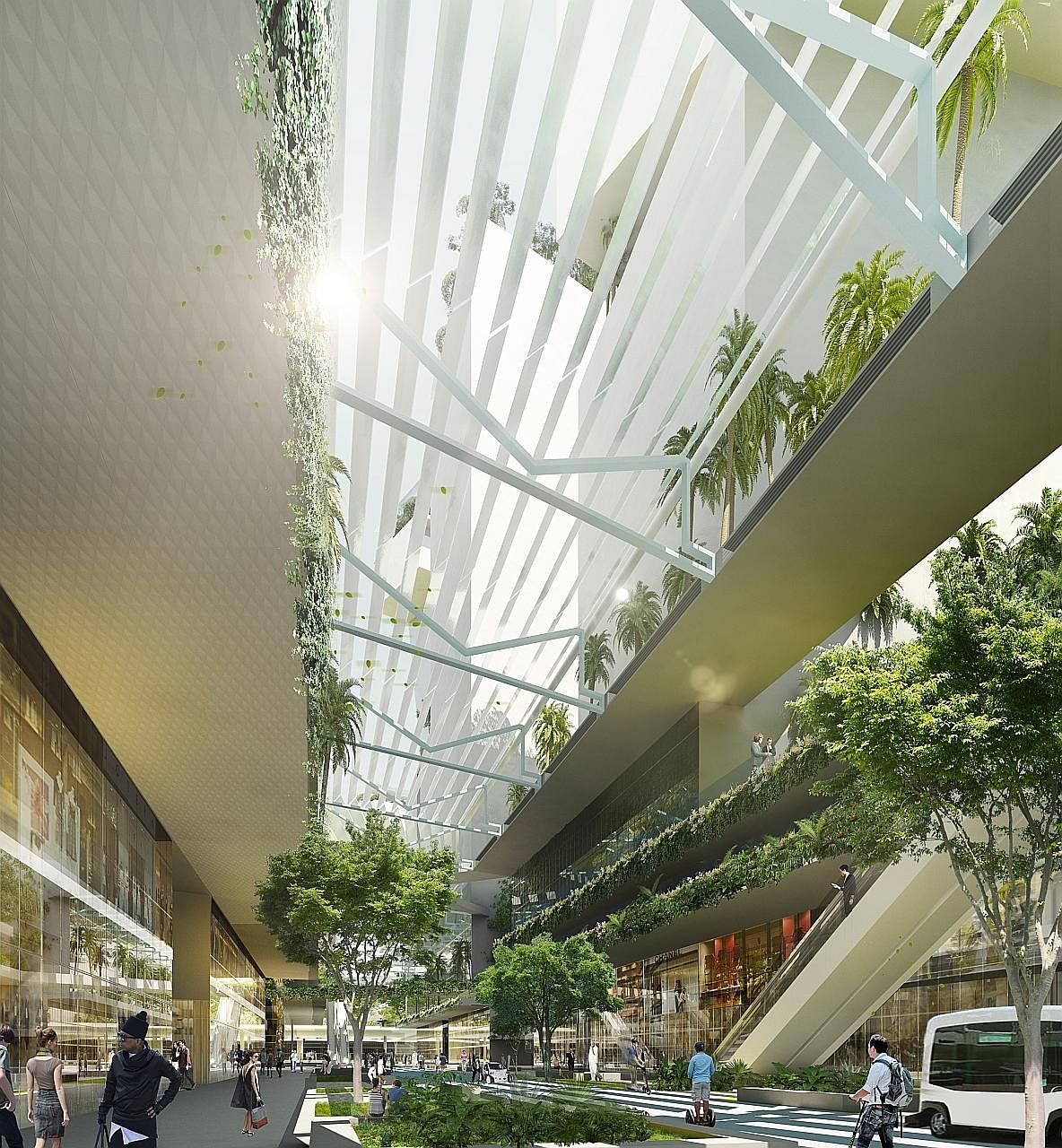 The vision for the district incorporates much greenery and will also encourage car-lite and active mobility initiatives. The URA liked the KCAP team's focus on walkable streets and interactive public spaces for social activities.