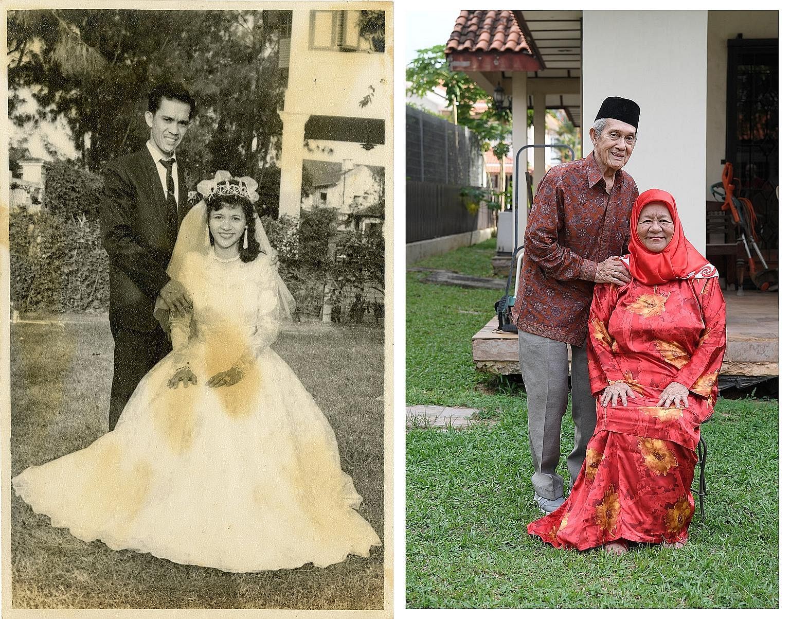 Mr Shahab and Madam Alsagoff at the bride's childhood home in Wareham Road, where they held their wedding celebrations in October 1961 (left), and the couple today. They first saw each other at a seaside event in Marine Parade.