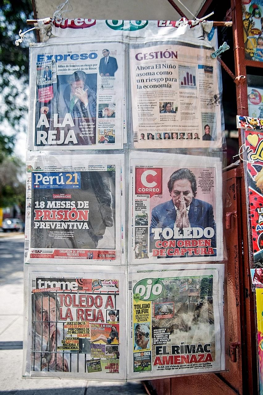 Mr Toledo was front-page news in Lima, Peru, last Friday, after a judge ordered his arrest for allegedly taking US$20 million in bribes.
