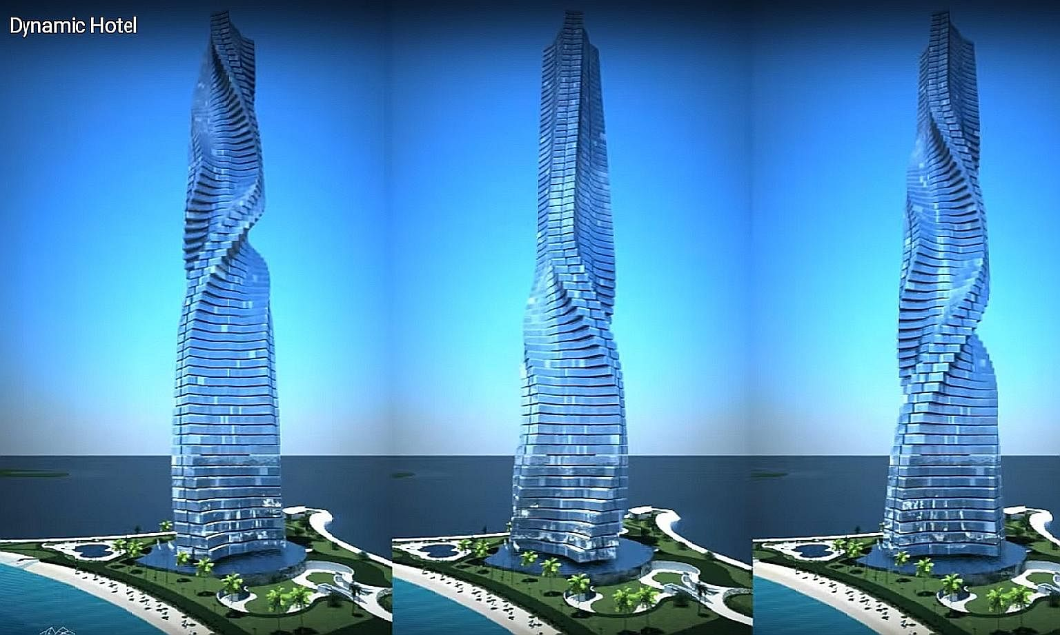 An artist's impression of the Dynamic Tower Hotel, which will be the world's first rotating skyscraper. Residents will be able to control rotation speeds and stop their apartment from spinning.