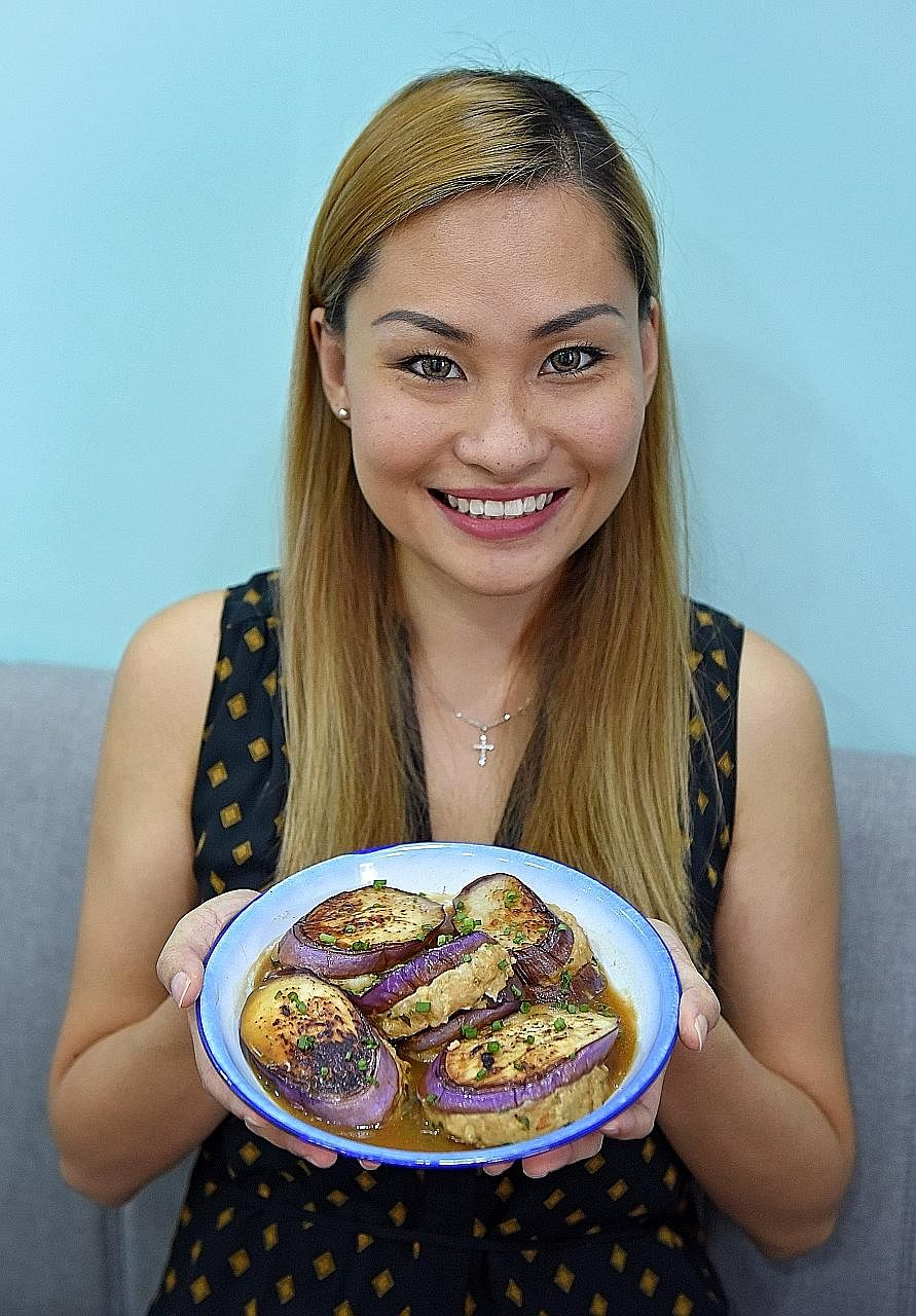 Sharon Lam's pan-fried stuffed brinjal is a one-pan dish.