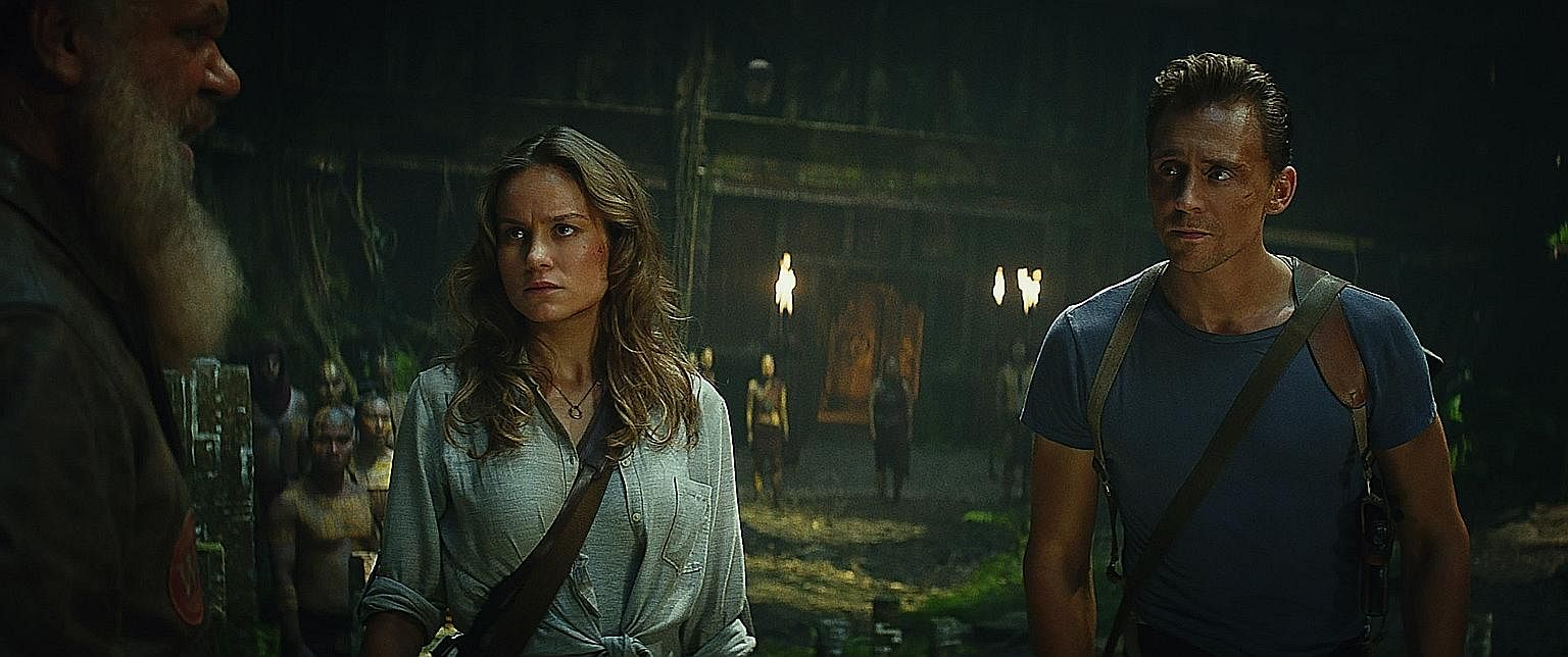 Skull Island's ensemble cast includes Brie Larson and Tom Hiddleston (both above).