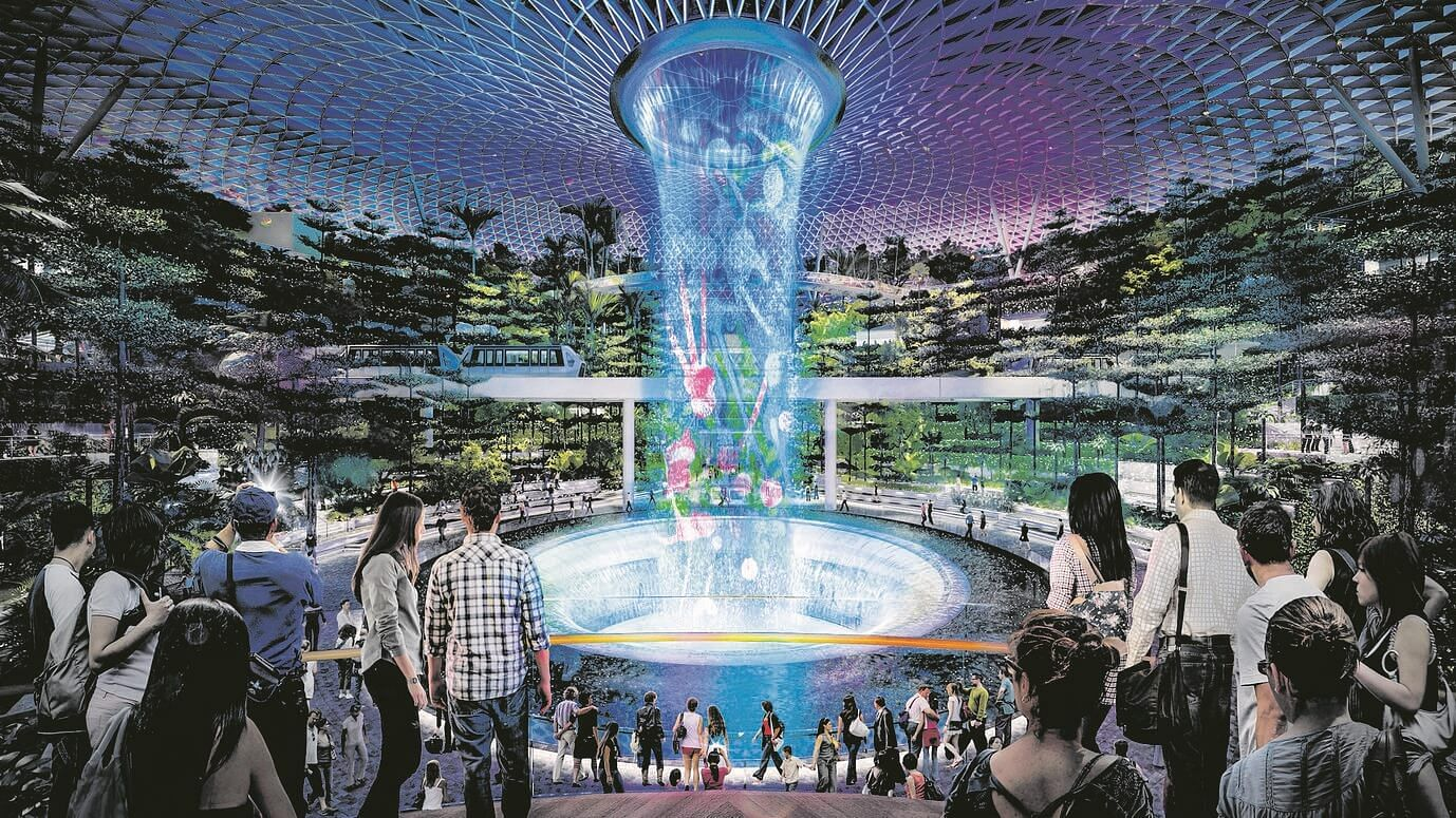 changi s jewel shaping up well for sparkling start in 2019 an artist s illustration of the rain vortex light and sound show photo jewel changi airport