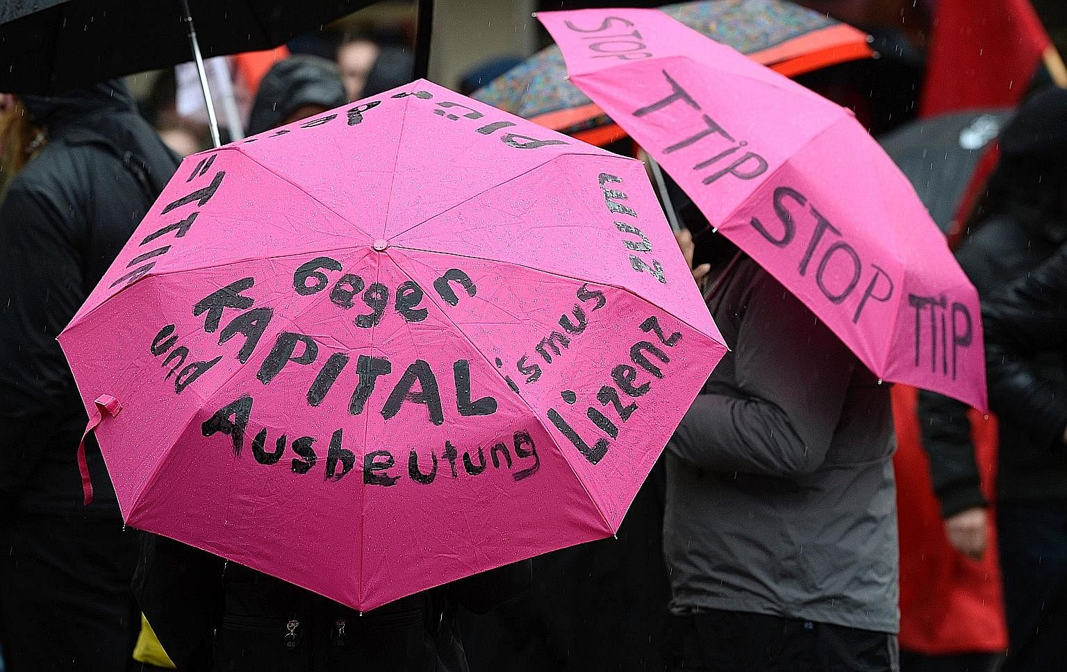 "An umbrella protest ""against capitalism and exploitation"" by demonstrators on the sidelines of the G-20 meeting last Saturday."