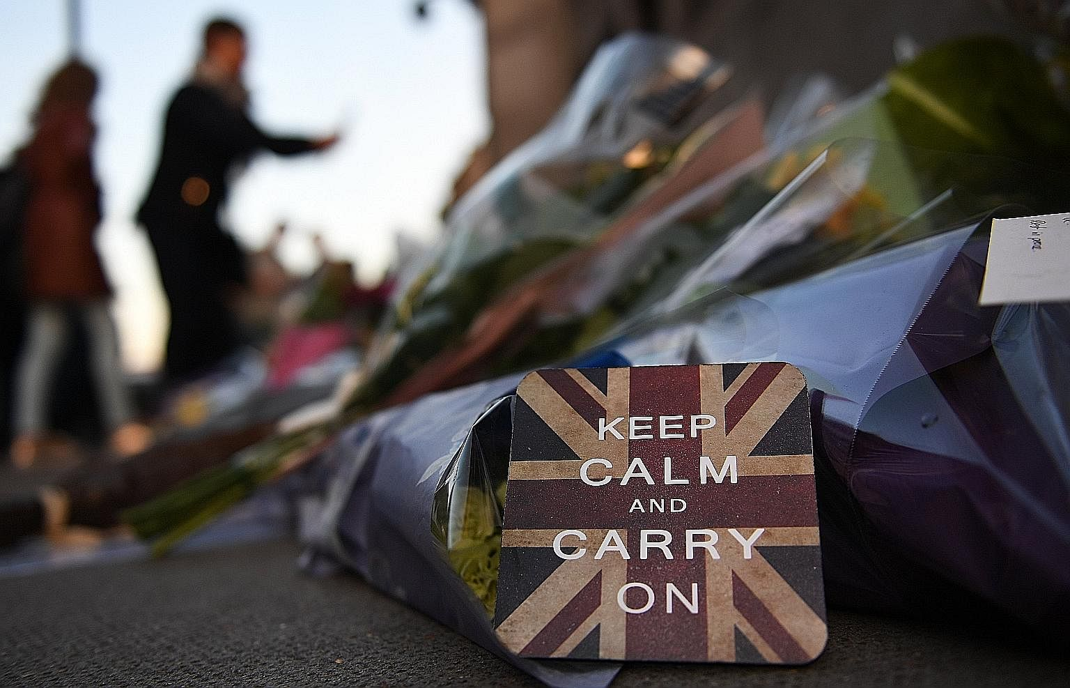 This famously stoic slogan, placed among the flowers left by well-wishers at Westminster Bridge in London on Friday, declares the city's resolve to remain unbowed by terrorism. Intended to be used as a rally cry in posters produced by the government