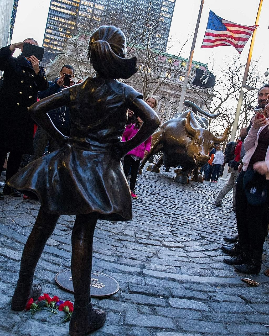 Fearless Girl, created by sculptor Kirsten Visbal, was placed at Bowling Green in honour of International Women's Day this month. She has spent the last few weeks in a face-off with Wall Street's well-known Charging Bull, and will do so until March 8