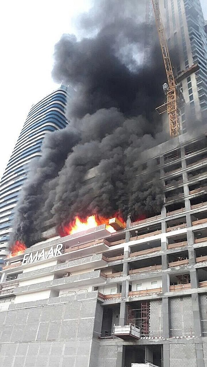 A fire broke out yesterday in a tower near the Dubai Mall and Burj Khalifa - the world's tallest building - and burned for several hours. The blaze erupted in a residential complex under construction, near a hotel that was ravaged by fire on New Year