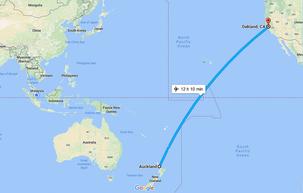the distance between auckland new zealand and oakland california photo google maps