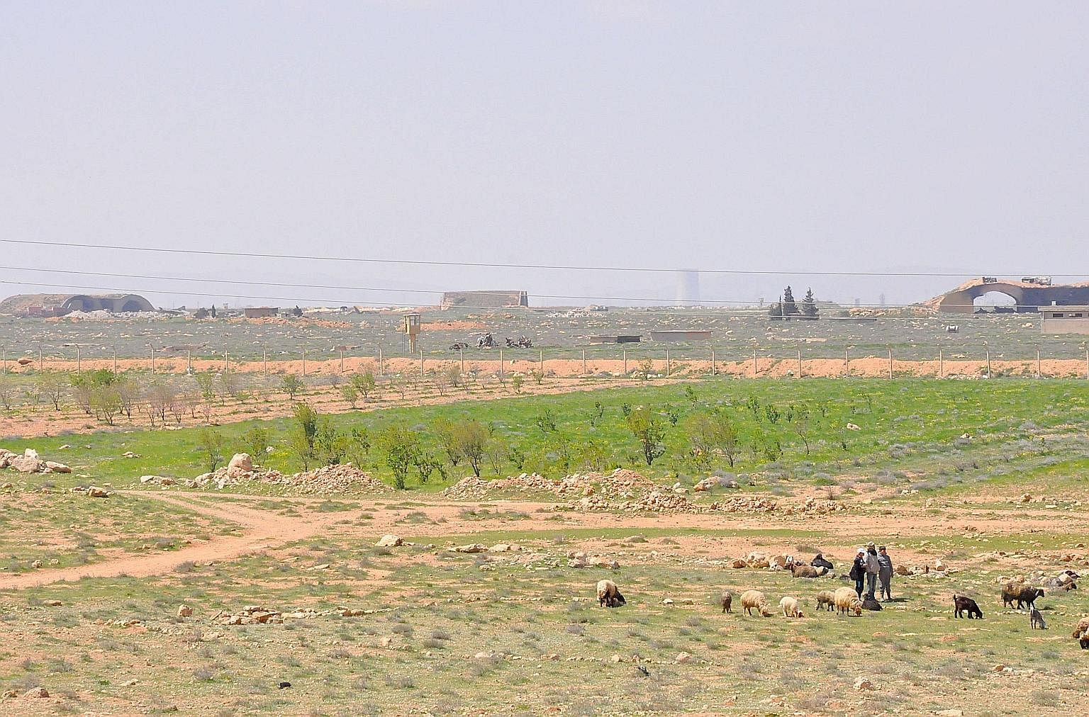 Syrian shepherds near the damaged Shayrat airfield, the Syrian government military base targeted last Thursday by US Tomahawk cruise missiles.