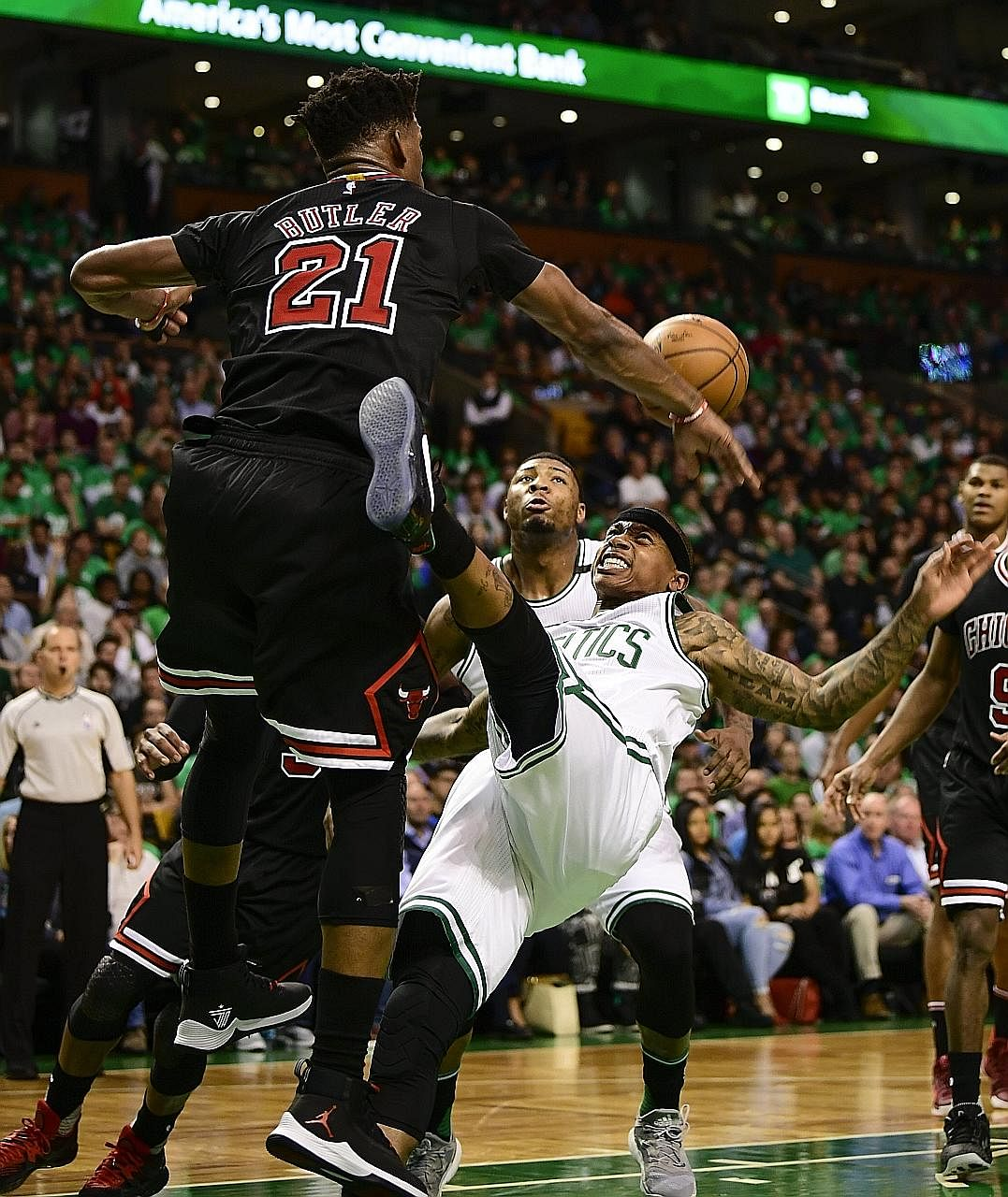 Bulls forward Jimmy Butler blocks Celtics guard Isaiah Thomas during Chicago's 111-97 victory over top seeds Boston in Game Two of their first-round Eastern Conference series. Butler, who had 22 points, eight rebounds and four steals, said the victor