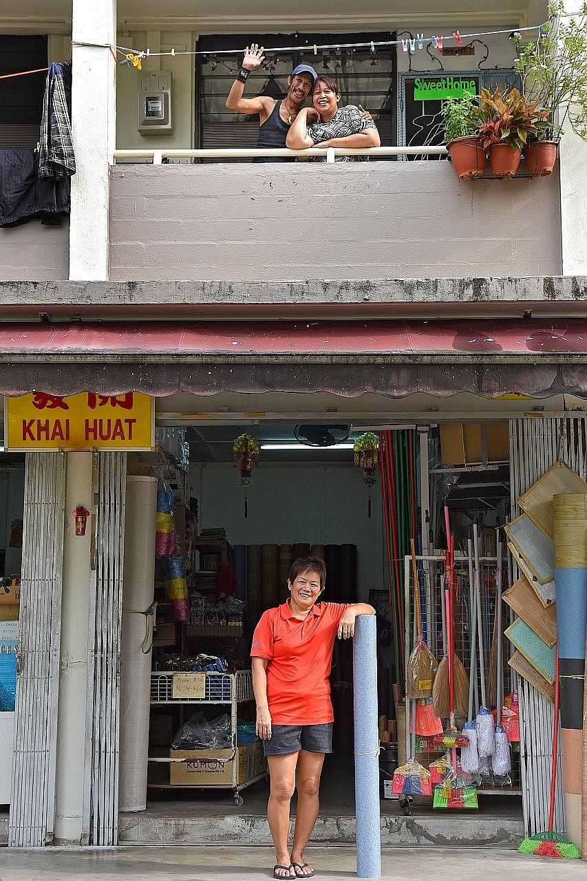 Madam Mary Tan (below), who runs an HDB shop in Stirling Road, believes shopkeepers like her are a valuable part of the neighbourhood. Many of the residents in the area, like Mr Abdul Kadir Abdul Hameed and his wife Marianah Madon (left), are her fri