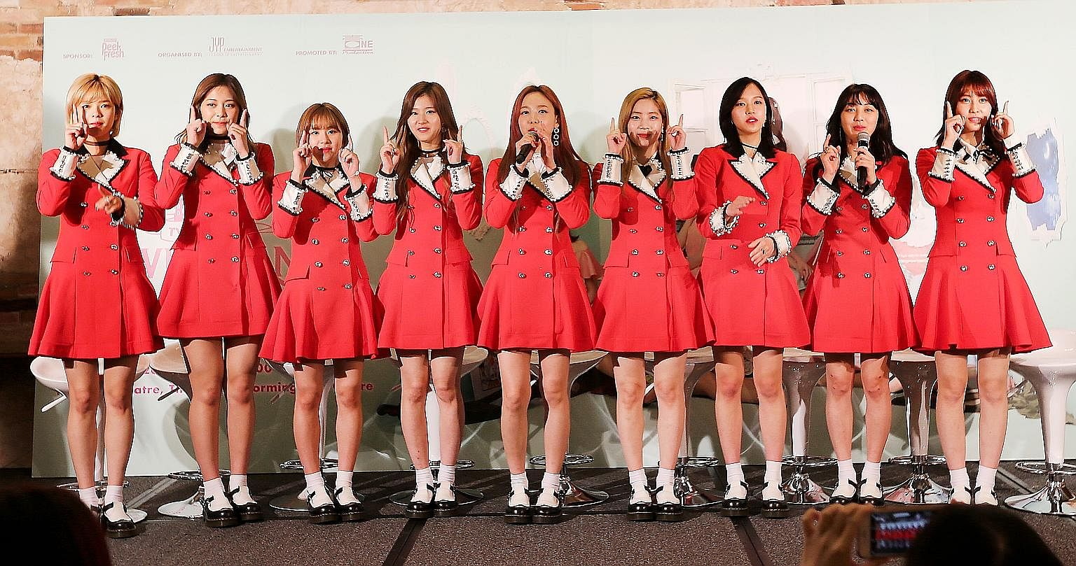 Touted to be the next big thing in K-pop are Twice's (from left) Jeongyeon, Tzuyu, Chaeyoung, Sana, Nayeon, Dahyun, Mina, Jihyo and Momo.