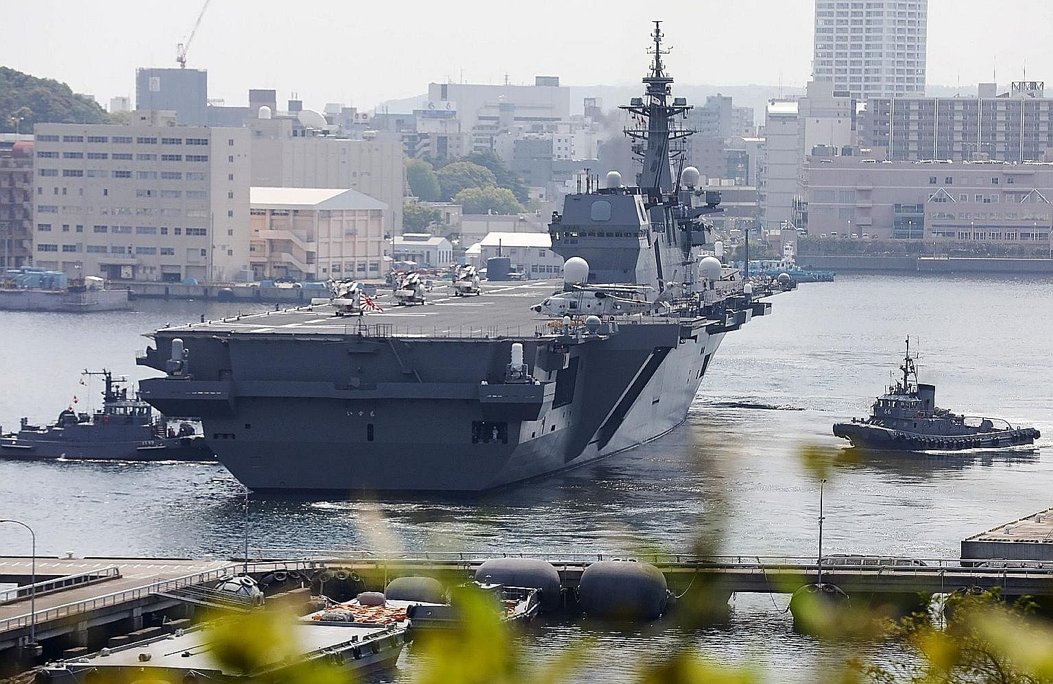 The Izumo sailing from Yokosuka Base on Monday on a mission to escort a US supply ship to the western Pacific. Such a deployment was made possible after a 2015 rule change.
