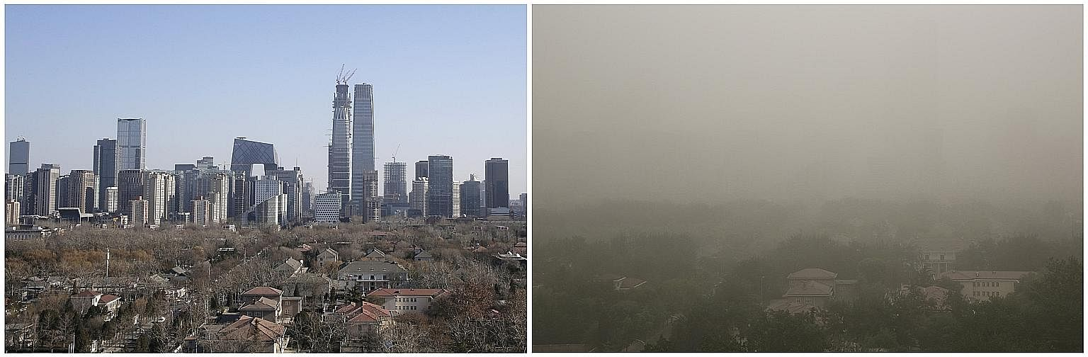 The skyline of Beijing's central business area on a sunny day in December last year, and during the dust storm yesterday. Such storms occur regularly in spring, when winds from China's north-west blow loose soil and sand from the Gobi Desert into the