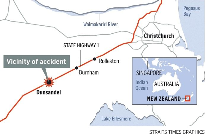 New Zealand Highway Map.Singaporean Man And Woman Killed In Car Crash In New Zealand