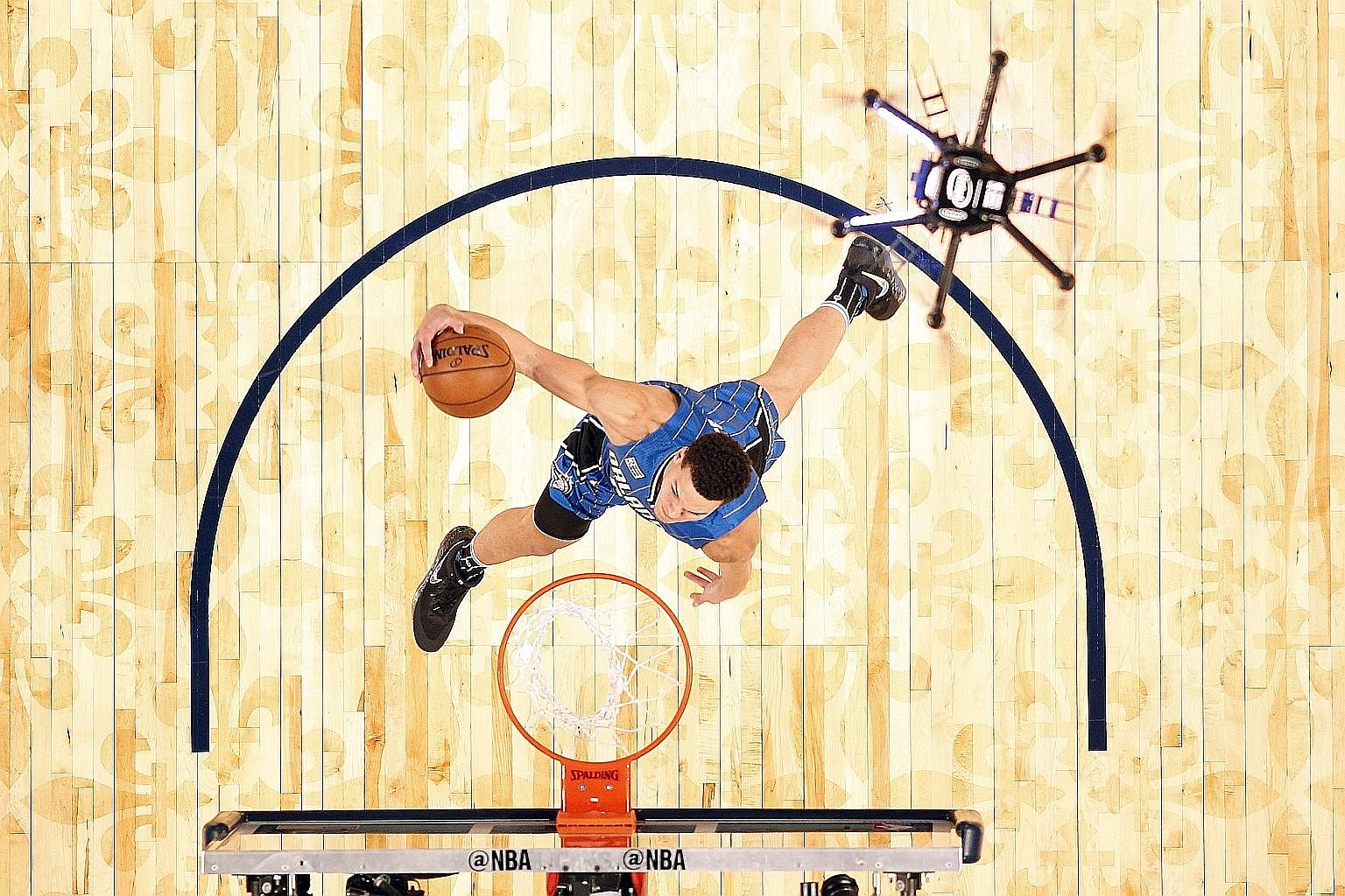 Orlando Magic forward Aaron Gordon attempting a dunk with a ball dropped by a drone in a slam dunk contest during the NBA All-Star Saturday Night at Smoothie King Centre in New Orleans on Feb 18.