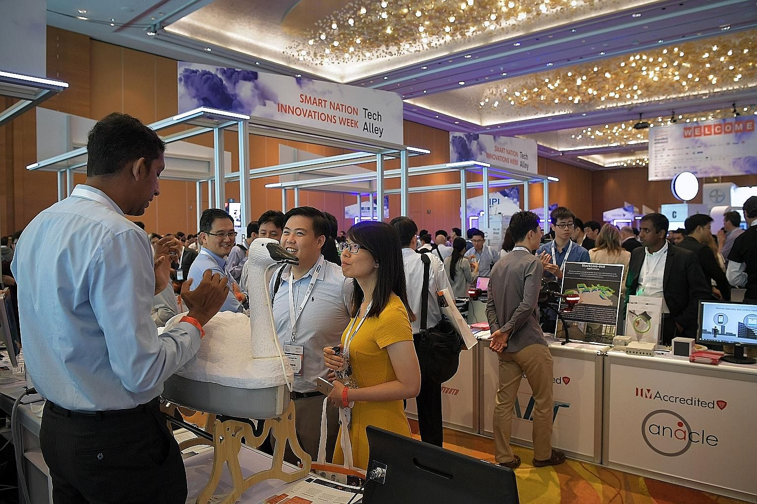 The crowd at the InnovFest Unbound Tech Fair at Marina Bay Sands Convention Centre last week. The National Research Foundation announced the setting up of AI.SG, a $150 million multi-agency effort that aims to tackle and solve national problems in he