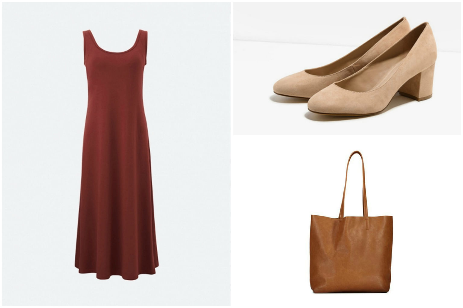 2c2aa11d5f49f Clockwise from left: Women Sleeveless Long Bra Dress, $39.90, from Uniqlo;  Nude textured block heel pumps, $49.90, from Charles & Keith and City  Slicker ...