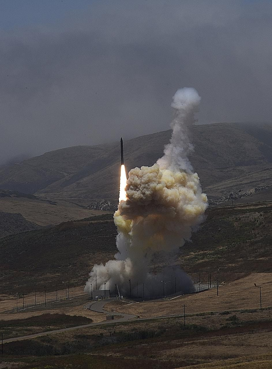 Photos from the US Missile Defence Agency showing a test of the Ground-based Mid-course Defence element of the nation's ballistic missile defence system on Tuesday. During the test, an ICBM-class target was launched from the Reagan Test Site on Kwaja