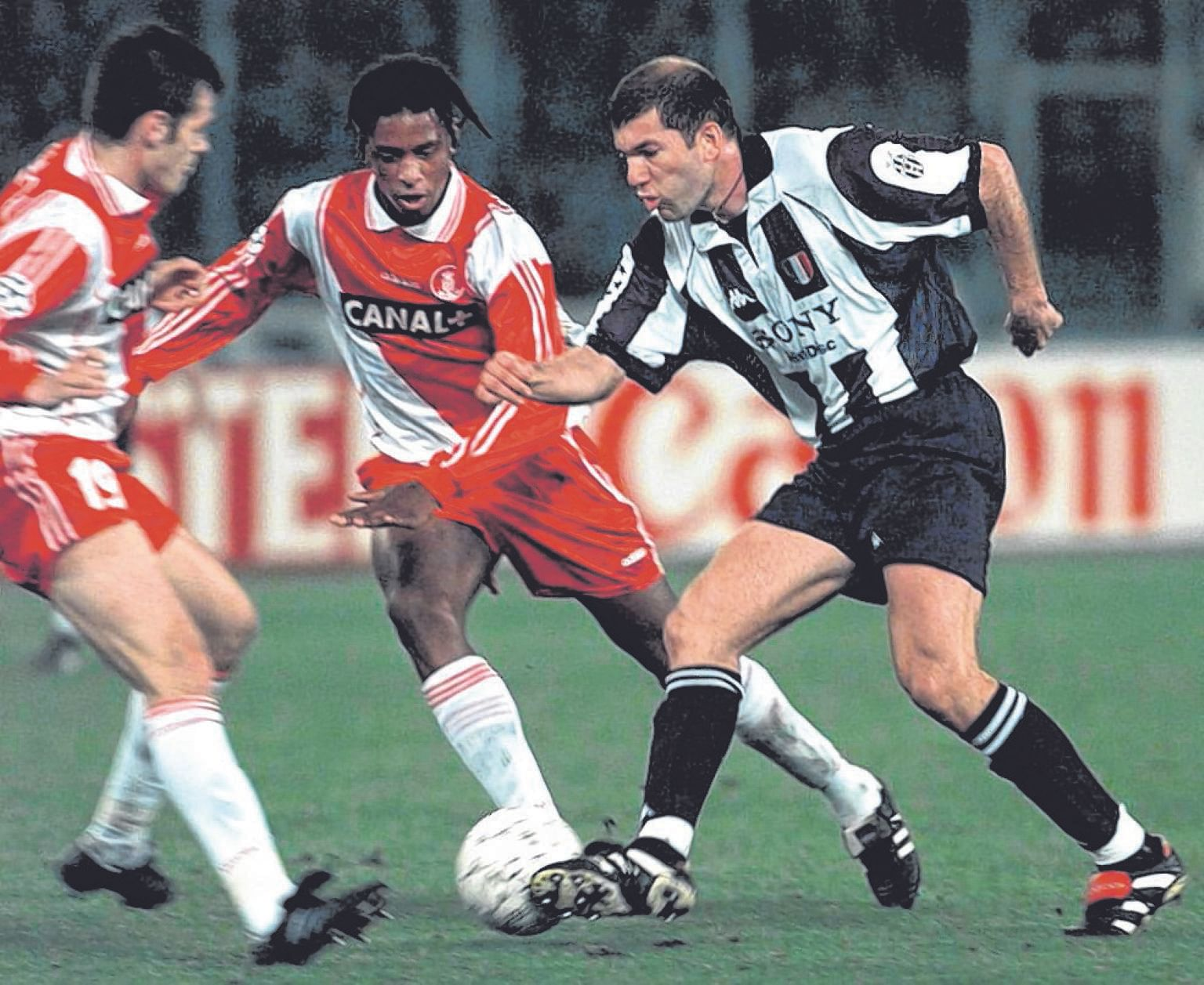 Former Juventus favourite Zinedine Zidane (right) playing for the Italian side in the Champions League in 1998. The Frenchman will be looking to break Bianconeri hearts, with the Real Madrid coach aiming to be the mastermind behind his former team's