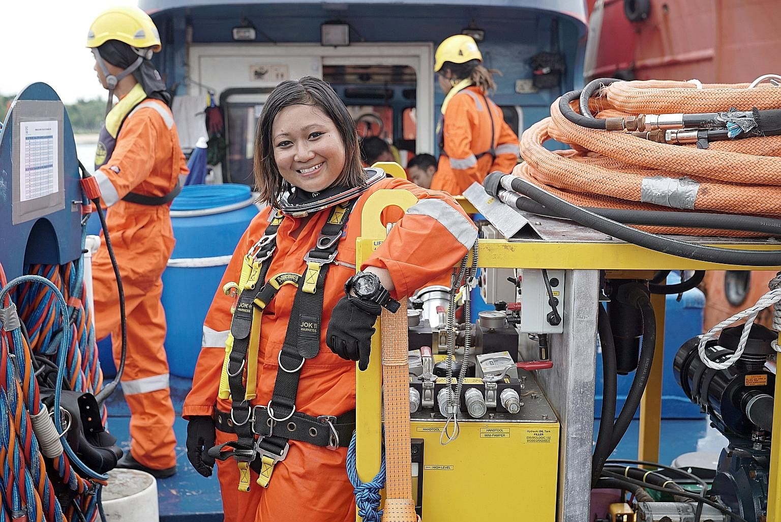 Ms Siti Naqiah Tusliman is the first female diver here certified to use specialised diving gear known as Surface-Supplied Diving Equipment for work purposes in Singapore waters. She joined an elite club of 63 divers who have attained the highest stan