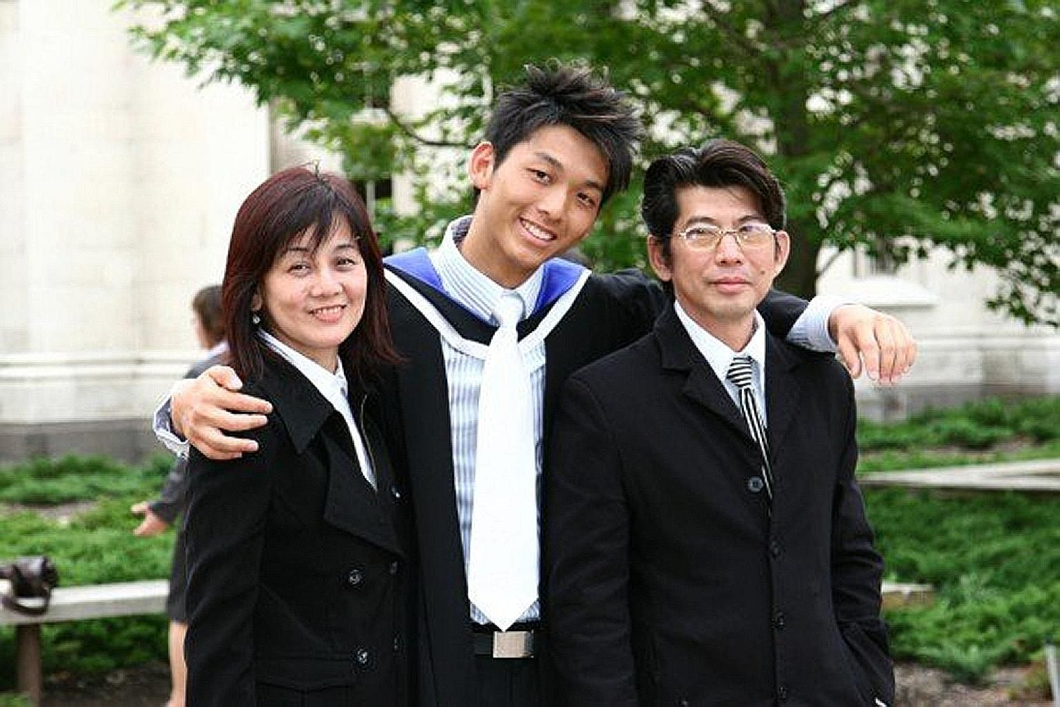 Mr Nelson Yap and his parents (above) at his graduation in Melbourne, and on a vacation to Hong Kong last year with his wife and their daughters.