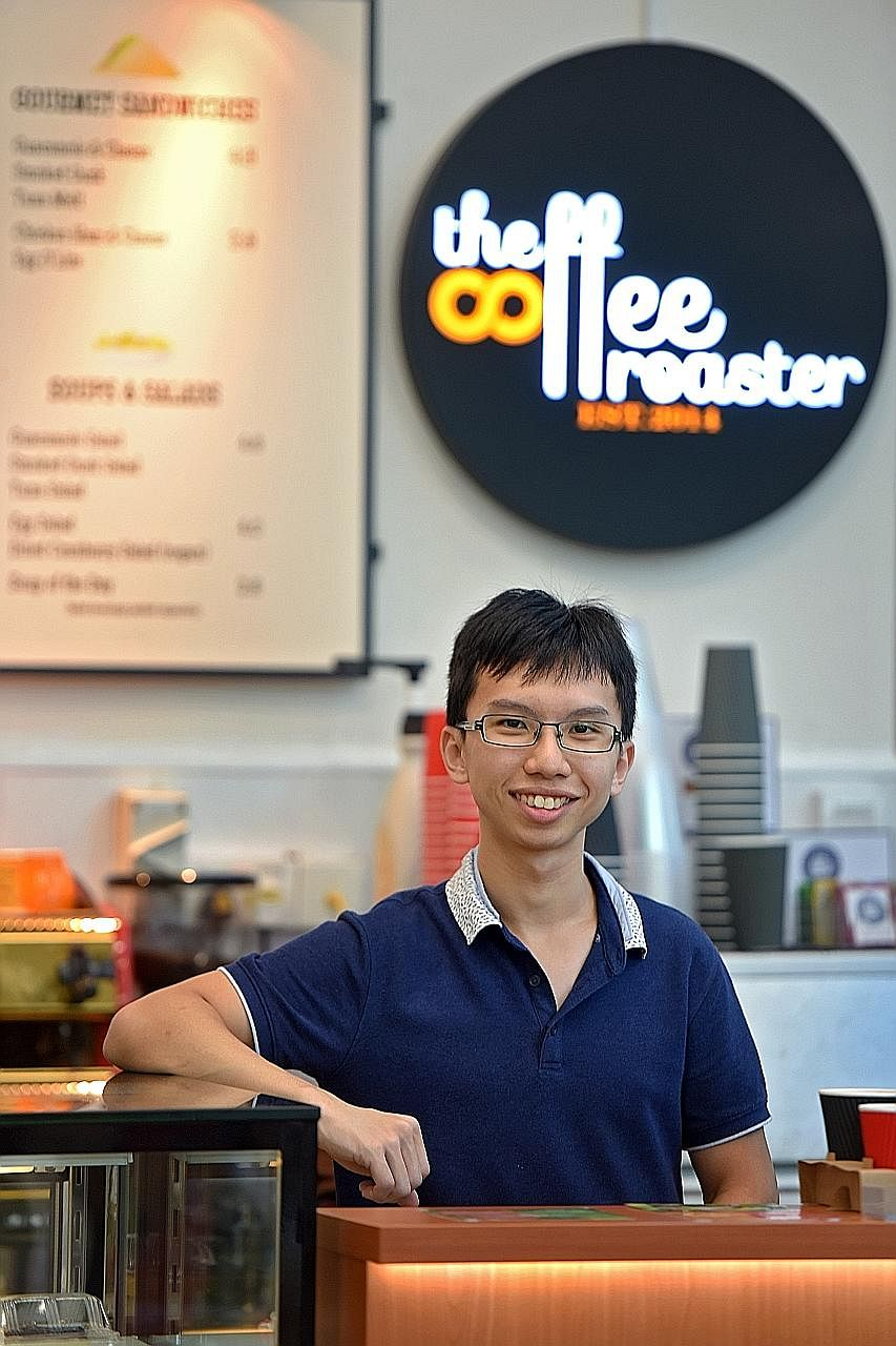 More than 300 customers, usually students and faculty, visit The Coffee Roaster at the National University of Singapore every day. The cafe, a business set up by Mr Ang Swee Heng (below) and his mother, moved to NUS' Block AS8 last August after it st